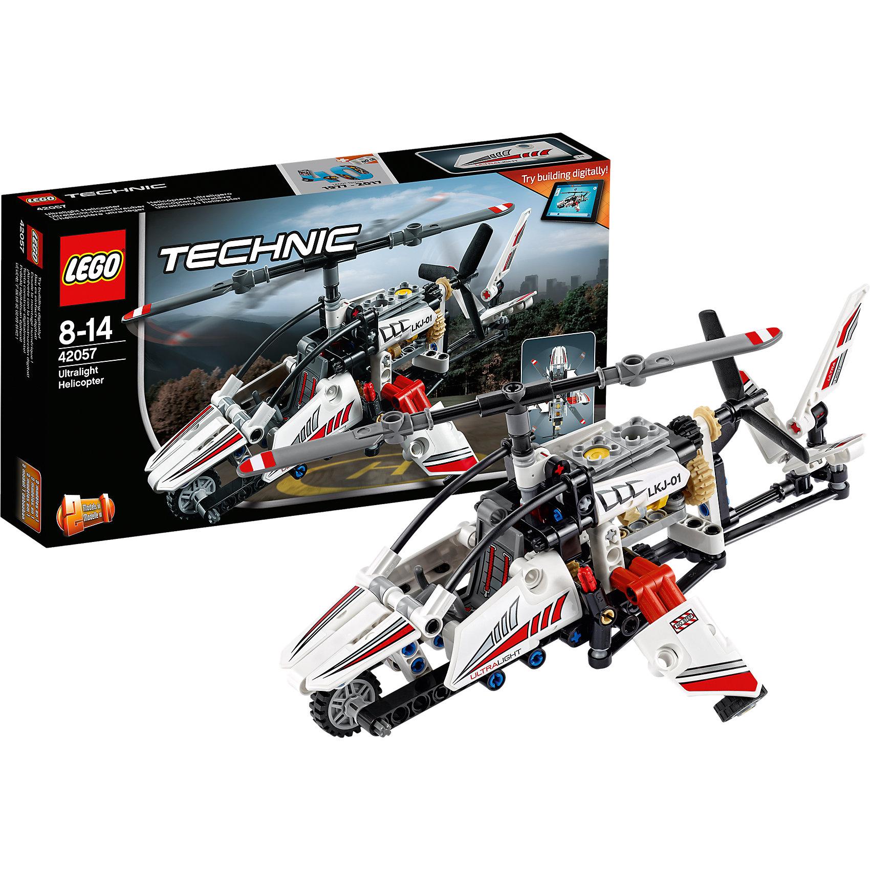 LEGO Technic 42057: Сверхлёгкий вертолётLEGO Technic 42057: Сверхлёгкий вертолёт<br><br>Характеристики:<br><br>- в набор входит: детали вертолёта, наклейки, инструкция по сборке<br>- состав: пластик<br>- количество деталей: 199<br>- приблизительное время сборки: 40 мин.<br>- размер вертолёта: 25 * 12 * 18 см.<br>- размер самолёта: 25 * 12 * 18 см.<br>- для детей в возрасте: от 8 до 14 лет<br>- Страна производитель: Дания/Китай/Чехия<br><br>Легендарный конструктор LEGO (ЛЕГО) представляет серию «Technic», которая бросает вызов уже опытным строителям ЛЕГО. <br><br>Ваш ребенок может строить продвинутые модели с реальными функциями, такими как коробки передач и системы рулевого управления. В набор включена деталь, посвященная сорокалетию серии. Наслаждайтесь строительством нового одноместного сверхлёгкого вертолета с открытой кабиной, а также крутящимися верхними и боковыми лопастями. Эта реалистичная модель необычного вертолёта может быть перестраивается в экспериментальный самолёт и обе модели имеют дополнительные объемные интерактивные инструкции на веб-сайте ЛЕГО. <br><br>Очень детализированнные наклейки корпуса и кабины пилота добавляют реалистичности вертолёту. Боковые и верхние лопасти крутятся благодаря механизму с шестерёнками, в вертолете так же имитируется работа двигателя. Направляющий хвост вертолёта двигается с помощью дополнительного механизма. Отличное сочетание функций и количества деталей позволит играть сразу с двумя моделями. <br><br>Играя с конструктором ребенок развивает моторику рук, воображение и логическое мышление, научится собирать по инструкции и создавать свои модели. Принимайте новые вызовы по сборке моделей и придумывайте новые истории с набором LEGO «Technic»!<br><br>Конструктор LEGO Technic 42057: Сверхлёгкий вертолёт можно купить в нашем интернет-магазине.<br><br>Ширина мм: 264<br>Глубина мм: 142<br>Высота мм: 53<br>Вес г: 293<br>Возраст от месяцев: 96<br>Возраст до месяцев: 168<br>Пол: Мужской<br>Возраст: Детский<br>SKU: 5002417