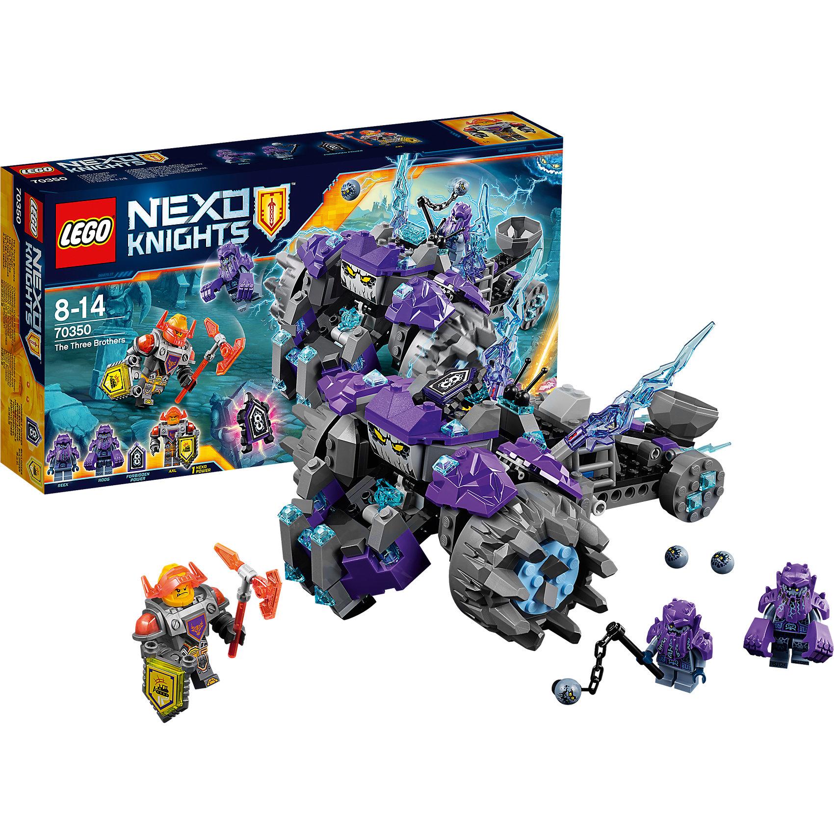LEGO NEXO KNIGHTS 70350: Три братаПластмассовые конструкторы<br>LEGO NEXO KNIGHTS 70350: Три брата<br><br>Характеристики:<br><br>- в набор входит: монстр на колесах, 3 фигурки, защитная сила, запретная сила, аксессуары, красочная инструкция<br>- состав: пластик<br>- количество деталей: 208<br>- размер коробки: 19 * 7 * 35 см.<br>- размер монстра на колесах: 22 * 17 * 11 см.<br>- для детей в возрасте: от 8 до 14 лет<br>- Страна производитель: Дания/Китай/Чехия<br><br>Легендарный конструктор LEGO (ЛЕГО) представляет серию «NEXO KNIGHTS» (Нэксо Найтс) по сюжету одноименного мультсериала. Серия понравится любителям средневековья благодаря рыцарям, принцессам, монстрам и ужасным злодеям. Три брата каменных монстра противостоят Рыцарю Акселю. Каменные монстры Рикс и Руг представлены в виде минифигурок и очень качественно выполнены в своих деталях, имеют по два выражения лица. Самый большой брат - это монстр с колесами, который собирается из серых и фиолетовых частей. Колеса выполнены из уникальных деталей, при движении пасть монстра открывается и закрывается, а также плавно перемещается вперед и назад. Монстр обладает запретной силой «Волчий голод». Полупрозрачные синие детали-молнии можно двигать, изменяя их положение на свой вкус. Под лестницей в кабину управления хранятся гравильеры – заряды для катапульты и ручное оружие. Встроенная несложная катапульта поможет закидать рыцарей гравильерами, можно заряжать сразу несколько снарядов. Рыцарь Аксель изменил свои доспехи добавив прозрачно-оранжевое забрало. В руках рыцарь держит Нексо-щит на котором расположена сила «Бульдозер» и топор из трех лего деталей. Помогай рыцарям бороться с каменными монстрами с помощью прогресса и невероятной Нексо силы!<br><br>Конструктор LEGO NEXO KNIGHTS 70350: Три брата можно купить в нашем интернет-магазине.<br><br>Ширина мм: 355<br>Глубина мм: 192<br>Высота мм: 73<br>Вес г: 514<br>Возраст от месяцев: 84<br>Возраст до месяцев: 168<br>Пол: Мужской<br>Возраст: Детский<br>SKU: 5002423