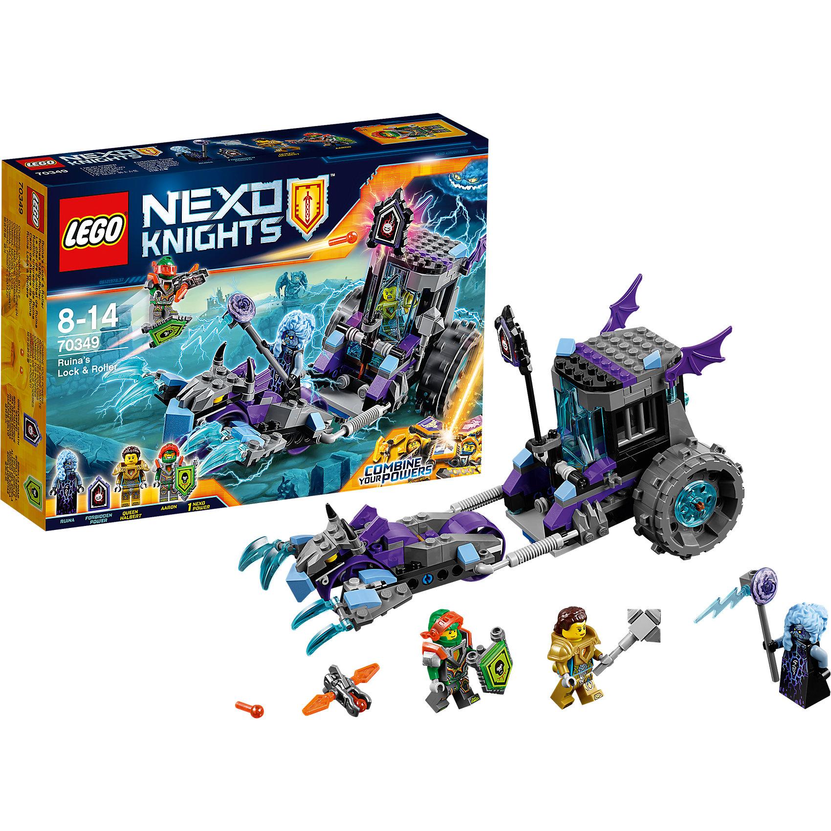 LEGO NEXO KNIGHTS 70349: Мобильная тюрьма РуиныПластмассовые конструкторы<br>LEGO NEXO KNIGHTS 70349: Мобильная тюрьма Руины<br><br>Характеристики:<br><br>- в набор входит: тюрьма, каргобайк, 3 фигурки, защитная сила, запретная сила, аксессуары, инструкция<br>- состав: пластик<br>- количество деталей: 208<br>- размер коробки: 19 * 6 * 26 см.<br>- размер мобильной тюрьмы: 23 * 9 * 12 см.<br>- для детей в возрасте: от 8 до 14 лет<br>- Страна производитель: Дания/Китай/Чехия<br><br>Легендарный конструктор LEGO (ЛЕГО) представляет серию «NEXO KNIGHTS» (Нэксо Найтс) по сюжету одноименного мультсериала. Серия понравится любителям средневековья благодаря рыцарям, принцессам, монстрам и ужасным злодеям. Королева Хальберт была похищена злой Руиной и заточена в ее тюрьме, но Аарон уже спешит на помощь! Тюрьма Руины может превращаться в две подвижные части: Каргобайк, которым она управляет и сама мобильная тюрьма. Дверь клетки открывается, решетчатые окна не позволят узнику убежать, а спереди тюрьму закрывает ледяная глыба из прозрачной детали. Запретная сила злодеев «Сокрушительный гнев» расположена на флагштоке, но если его передвинуть вниз, то узник сможет сбежать из тюрьмы благодаря выдвижному полу. Фигурка злодейки отлично детализирована, у нее необычная прическа и голубой цвет волос. Посох с молниями это оружие похитительницы, у нее имеется два выражения лица. Королева Хальберт здесь представлена в золотых доспехах и с молотом в качестве оружия, также имеет два выражения лица. Сам Аарон представлен в новом костюме с оранжевым забралом, Нексо-щитом и арбалетом, имеет два выражения лица. Арбалет стреляет с помощью небольшого пластикового механизма. Помогай рыцарям бороться с каменными монстрами с помощью прогресса и невероятной Нексо силы!<br><br>Конструктор LEGO NEXO KNIGHTS 70349: Мобильная тюрьма Руины можно купить в нашем интернет-магазине.<br><br>Ширина мм: 262<br>Глубина мм: 195<br>Высота мм: 68<br>Вес г: 345<br>Возраст от месяцев: 84<br>Возраст до месяцев: 168<br>По