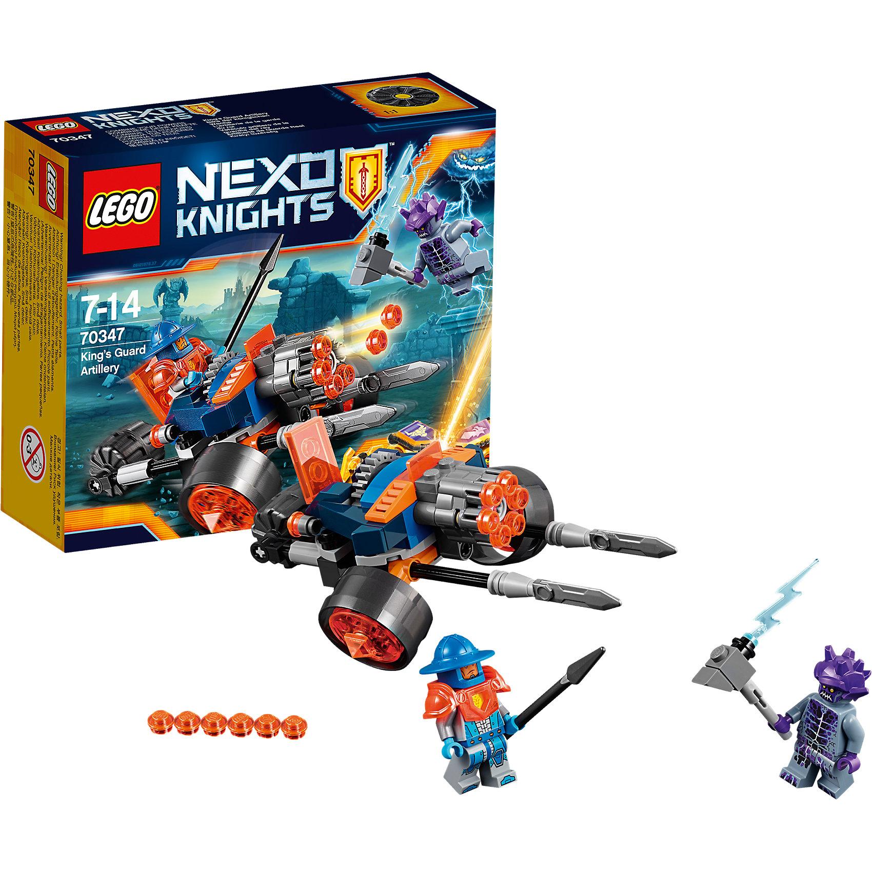 LEGO NEXO KNIGHTS 70347: Самоходная артиллерийская установка королевской гвардииПластмассовые конструкторы<br>LEGO NEXO KNIGHTS 70347: Самоходная артиллерийская установка королевской гвардии<br><br>Характеристики:<br><br>- в набор входит: установка, 2 фигурки, аксессуары, инструкция<br>- состав: пластик<br>- количество деталей: 98<br>- размер коробки: 14 * 4,5 * 12 см.<br>- размер установки: 14 * 9 * 6 см.<br>- для детей в возрасте: от 7 до 14 лет<br>- Страна производитель: Дания/Китай/Чехия<br><br>Легендарный конструктор LEGO (ЛЕГО) представляет серию «NEXO KNIGHTS» (Нэксо Найтс) по сюжету одноименного мультсериала. Серия понравится любителям средневековья благодаря рыцарям, принцессам, монстрам и ужасным злодеям. Трехколесное средство передвижения имеет необычное строение передних колес благодаря изгибу поперечной детали, и за счет этого передвигается плавно. Две передние пики защищают рыцаря, а если передвинуть заднее колесо к кабине, то они выдвинутся. Шестиствольная фронтальная пушка оснащена механизмом, позволяющим стрелять снарядами по очереди с помощью движущейся шестеренки. В кабине есть место для одного королевского гвардейца. Фигурка гвардейца отлично детализирована, и в этой серии выходит с прозрачными оранжевыми наплечниками, фигурка имеет два выражения лица. Каменный монстр из набора представлен с отличным рельефом и молотом с молнией, также фигурка имеет два выражения лица. Помогай бороться с монстрами с помощью прогресса и королевской установки!<br><br>Конструктор LEGO NEXO KNIGHTS 70347: Самоходная артиллерийская установка королевской гвардии можно купить в нашем интернет-магазине.<br><br>Ширина мм: 143<br>Глубина мм: 119<br>Высота мм: 48<br>Вес г: 118<br>Возраст от месяцев: 84<br>Возраст до месяцев: 168<br>Пол: Мужской<br>Возраст: Детский<br>SKU: 5002425