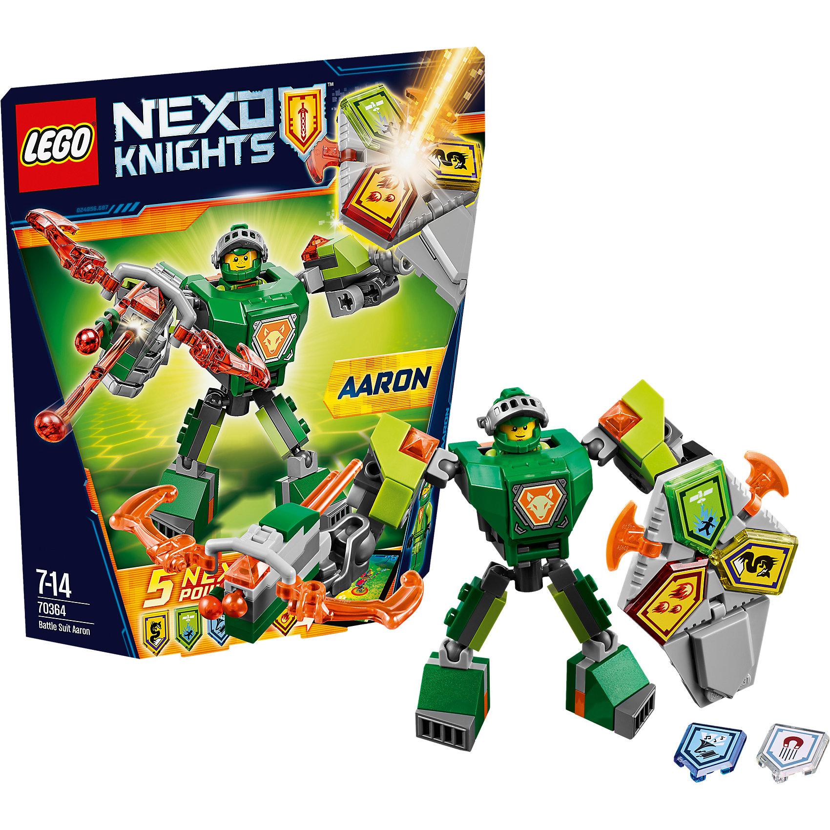 LEGO NEXO KNIGHTS 70364: Боевые доспехи АаронаПластмассовые конструкторы<br>LEGO NEXO KNIGHTS 70364: Боевые доспехи Аарона<br><br>Характеристики:<br><br>- в набор входит: доспехи, фигурка, 5 защитных сил, красочная инструкция<br>- состав: пластик<br>- количество деталей: 80<br>- размер коробки: 20 * 5,5 * 19 см.<br>- высота доспеха: 9 см.<br>- для детей в возрасте: от 7 до 14 лет<br>- Страна производитель: Дания/Китай/Чехия<br><br>Легендарный конструктор LEGO (ЛЕГО) представляет серию «NEXO KNIGHTS» (Нэксо Найтс) по сюжету одноименного мультсериала. Серия понравится любителям средневековья благодаря рыцарям, принцессам, монстрам и ужасным злодеям. Рыцарь Аарон получает свои новые боевые доспехи. Прекрасное сочетание темно-серого, зеленого, темно-зеленого и оранжевого цветов отлично ему подходят. Доспех на шарнирах и позволяет рыцарю свободно двигать руками и ногами в плечах, локтях, коленях, бедрах и торсе. Прочный щит содержит сразу три силы, а надежный и яркий арбалет станет отличным помощников в битве. Благодаря механизму можно стрелять из арбалета. Изображенный на груди герб Аарона является особенностью доспеха. Фигурка Аарона входит в комплект, отлично детализирована и имеет два выражения лица. Съемный шлем выглядит очень правдоподобно, забрало поднимается и опускается. К доспеху можно будет прикрепить дополнительные детали от LEGO NEXO KNIGHTS, которые выйдут во втором полугодии 2017 года. Помогай рыцарям бороться с каменными монстрами с помощью прогресса и невероятной Нексо силы!<br><br>Конструктор LEGO NEXO KNIGHTS 70364: Боевые доспехи Аарона можно купить в нашем интернет-магазине.<br><br>Ширина мм: 211<br>Глубина мм: 190<br>Высота мм: 50<br>Вес г: 124<br>Возраст от месяцев: 84<br>Возраст до месяцев: 168<br>Пол: Мужской<br>Возраст: Детский<br>SKU: 5002426