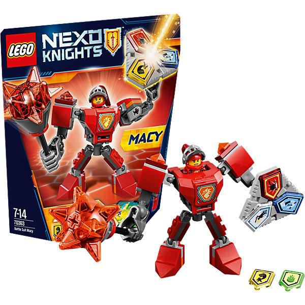 LEGO NEXO KNIGHTS 70363: Боевые доспехи МэйсиПластмассовые конструкторы<br>LEGO NEXO KNIGHTS 70363: Боевые доспехи Мэйси<br><br>Характеристики:<br><br>- в набор входит: доспехи, фигурка, 5 защитных сил, красочная инструкция<br>- состав: пластик<br>- количество деталей: 66<br>- размер коробки: 20 * 5,5 * 19 см.<br>- высота доспеха: 9 см.<br>- для детей в возрасте: от 7 до 14 лет<br>- Страна производитель: Дания/Китай/Чехия<br><br>Легендарный конструктор LEGO (ЛЕГО) представляет серию «NEXO KNIGHTS» (Нэксо Найтс) по сюжету одноименного мультсериала. Серия понравится любителям средневековья благодаря рыцарям, принцессам, монстрам и ужасным злодеям. Рыцарь-девушка Мейси получила свои новые боевые доспехи. Прекрасное сочетание темно-серого, красного и оранжевого цветов отлично ей подходят. Доспех на шарнирах и позволяет свободно двигать руками и ногами в плечах, локтях, коленях, бедрах и торсе. Прочный щит содержит сразу три силы, а мощная и яркая булава с прозрачными деталями станет отличной помощницей в битве. Изображенный на груди герб Мейси является особенностью доспеха. Фигурка Мейси входит в комплект и отлично детализирована. Съемный шлем выглядит очень правдоподобно, а забрало поднимается и опускается. К доспеху можно будет прикрепить детали LEGO NEXO KNIGHTS, которые выйдут во втором полугодии 2017 года. Помогай рыцарям бороться с каменными монстрами с помощью прогресса и невероятной Нексо силы!<br><br>Конструктор LEGO NEXO KNIGHTS 70363: Боевые доспехи Мэйси можно купить в нашем интернет-магазине.<br><br>Ширина мм: 209<br>Глубина мм: 185<br>Высота мм: 50<br>Вес г: 125<br>Возраст от месяцев: 84<br>Возраст до месяцев: 168<br>Пол: Мужской<br>Возраст: Детский<br>SKU: 5002427