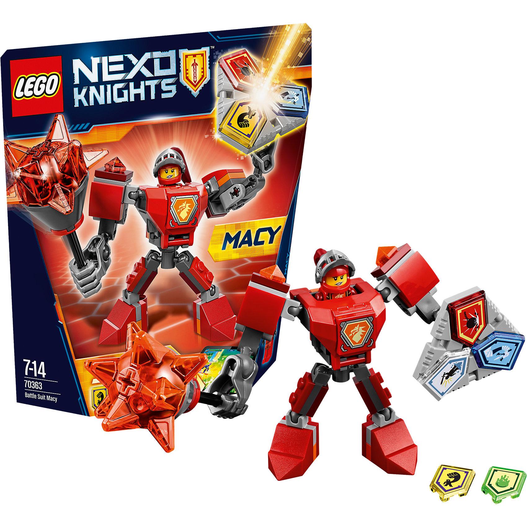 LEGO NEXO KNIGHTS 70363: Боевые доспехи МэйсиПластмассовые конструкторы<br>LEGO NEXO KNIGHTS 70363: Боевые доспехи Мэйси<br><br>Характеристики:<br><br>- в набор входит: доспехи, фигурка, 5 защитных сил, красочная инструкция<br>- состав: пластик<br>- количество деталей: 66<br>- размер коробки: 20 * 5,5 * 19 см.<br>- высота доспеха: 9 см.<br>- для детей в возрасте: от 7 до 14 лет<br>- Страна производитель: Дания/Китай/Чехия<br><br>Легендарный конструктор LEGO (ЛЕГО) представляет серию «NEXO KNIGHTS» (Нэксо Найтс) по сюжету одноименного мультсериала. Серия понравится любителям средневековья благодаря рыцарям, принцессам, монстрам и ужасным злодеям. Рыцарь-девушка Мейси получила свои новые боевые доспехи. Прекрасное сочетание темно-серого, красного и оранжевого цветов отлично ей подходят. Доспех на шарнирах и позволяет свободно двигать руками и ногами в плечах, локтях, коленях, бедрах и торсе. Прочный щит содержит сразу три силы, а мощная и яркая булава с прозрачными деталями станет отличной помощницей в битве. Изображенный на груди герб Мейси является особенностью доспеха. Фигурка Мейси входит в комплект и отлично детализирована. Съемный шлем выглядит очень правдоподобно, а забрало поднимается и опускается. К доспеху можно будет прикрепить детали LEGO NEXO KNIGHTS, которые выйдут во втором полугодии 2017 года. Помогай рыцарям бороться с каменными монстрами с помощью прогресса и невероятной Нексо силы!<br><br>Конструктор LEGO NEXO KNIGHTS 70363: Боевые доспехи Мэйси можно купить в нашем интернет-магазине.<br><br>Ширина мм: 208<br>Глубина мм: 182<br>Высота мм: 50<br>Вес г: 119<br>Возраст от месяцев: 84<br>Возраст до месяцев: 168<br>Пол: Мужской<br>Возраст: Детский<br>SKU: 5002427