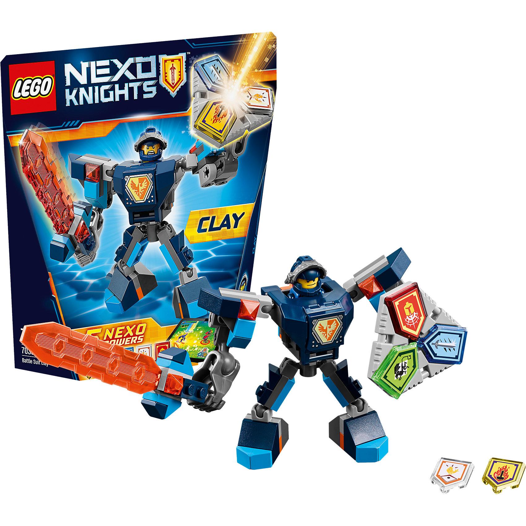 LEGO NEXO KNIGHTS 70362: Боевые доспехи КлэяПластмассовые конструкторы<br>LEGO NEXO KNIGHTS 70362: Боевые доспехи Клэя<br><br>Характеристики:<br><br>- в набор входит: доспехи, фигурка, 5 защитных сил, красочная инструкция<br>- состав: пластик<br>- количество деталей: 79<br>- размер коробки: 20 * 5,5 * 19 см.<br>- высота доспеха: 9 см.<br>- для детей в возрасте: от 7 до 14 лет<br>- Страна производитель: Дания/Китай/Чехия<br><br>Легендарный конструктор LEGO (ЛЕГО) представляет серию «NEXO KNIGHTS» (Нэксо Найтс) по сюжету одноименного мультсериала. Серия понравится любителям средневековья благодаря рыцарям, принцессам, монстрам и ужасным злодеям. Рыцарь Клэй получает свои новые боевые доспехи. Прекрасное сочетание темно-синего, белого и оранжевого цветов отлично ему подходят. Доспех на шарнирах и позволяет рыцарю свободно двигать руками и ногами в плечах, локтях, коленях и бедрах. Прочный щит содержит сразу три силы, а надежный и яркий меч станет отличным помощников в битве. Удлиненные плечи являются особенностью доспеха, а также изображенный на груди герб самого Клэя. Фигурка Клэя входит в комплект и отлично детализирована. Съемный шлем выглядит очень правдоподобно, а его забрало поднимается и опускается. К доспеху можно прикрепить детали из Сокола Клэя от LEGO NEXO KNIGHTS. Помогай рыцарям бороться с каменными монстрами с помощью прогресса и невероятной Нексо силы!<br><br>Конструктор LEGO NEXO KNIGHTS 70362: Боевые доспехи Клэя можно купить в нашем интернет-магазине.<br><br>Ширина мм: 211<br>Глубина мм: 182<br>Высота мм: 54<br>Вес г: 117<br>Возраст от месяцев: 84<br>Возраст до месяцев: 168<br>Пол: Мужской<br>Возраст: Детский<br>SKU: 5002428