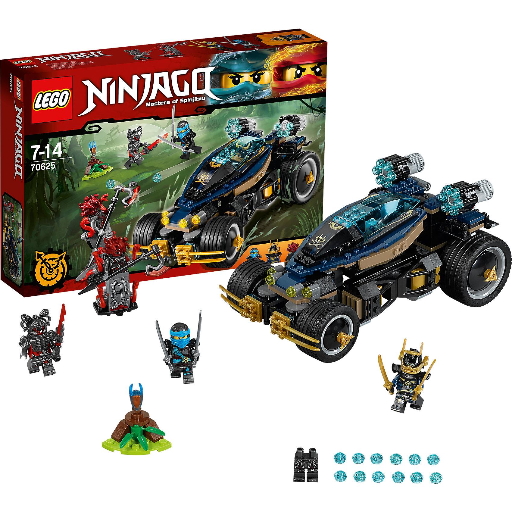 LEGO NINJAGO 70625: Самурай VXLLEGO NINJAGO 70625: Самурай VXL<br><br>Характеристики:<br><br>- в набор входит: детали машины и подставки, 4 минифигурки, 1 клинок времени, аксессуары, красочная инструкция по сборке<br>- минифигурки набора: Самурай Икс, Ния, Риветт, генерал Макиа<br>- состав: пластик<br>- количество деталей: 428<br>- примерное время сборки: 40 мин.<br>- размер самурая VXL: 20 * 10 * 13 см. <br>- размер подставки: 3 * 3 * 3 см.<br>- для детей в возрасте: от 7 до 14 лет<br>- Страна производитель: Дания/Китай/Чехия<br><br>Легендарный конструктор LEGO (ЛЕГО) представляет серию «NINJAGO» (Ниндзяго) - это увлекательный мир воинов ниндзя против зла. Ребенку понравятся разнообразие приключений и возможности новых игр. <br><br>Самурай Икс представлен в доспехе с золотыми элементами, золотыми катанами и в своем новом костюме, у самурая два выражения лица. Фигурка Нии в голубо-сером костюме тоже отлично проработана, у нее есть наплечники и ножны для оружия за спиной. Злодей Риветт в тяжелом доспехе и с мощным мечом и тяжелым шлемом выглядит устрашающе. Генерал Вермиллионов Макиа окружен змеями и выглядит очень внушающие благодаря своему размеру, в руках у него мощный топор. Его объемная прическа состоит из змей, в комплект входят обычные ноги и вариант с хвостом. <br><br>Транспортное средство Самурай VXL оснащено большими шестиснарядными пушками стреляющими с помощью механизмов, кабина машины открывается. Колеса оснащены поворотным механизмом для более мягких поворотов, они поворачиваются при наклоне кабины. К клинку времени выпущена подставка. Помоги ниндзям победить Алую армию! <br><br>Играя с конструктором ребенок развивает моторику рук, воображение и логическое мышление, научится собирать по инструкции и создавать свои модели. Придумывайте новые истории любимых героев с набором LEGO «NINJAGO»!<br><br>Конструктор LEGO NINJAGO 70625: Самурай VXL можно купить в нашем интернет-магазине.<br><br>Ширина мм: 384<br>Глубина мм: 264<br>Высота мм: 73<br>Вес г: 656<br>В