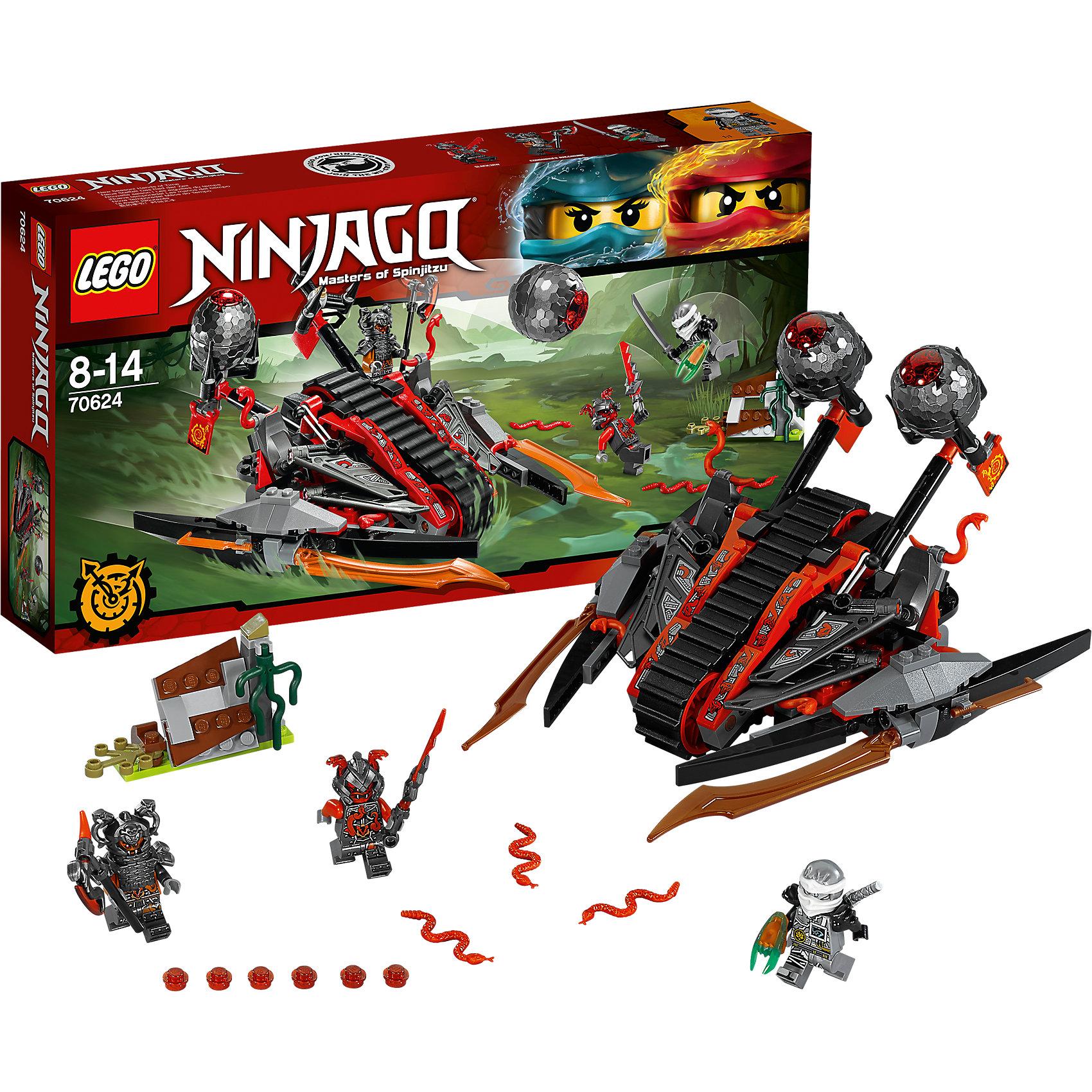 LEGO NINJAGO 70624: Алый захватчикLEGO NINJAGO 70624: Алый захватчик<br><br>Характеристики:<br><br>- в набор входит: детали захватчика, барьера, 3 минифигурки, 1 клинок времени, аксессуары, красочная инструкция по сборке<br>- минифигурки набора: Зейн, командир Рагмунг, Слэкджо<br>- состав: пластик<br>- количество деталей: 313<br>- размер захватчика: 22 * 13 * 19 см. <br>- размер барьера: 7 * 3 * 5 см.<br>- для детей в возрасте: от 8 до 14 лет<br>- Страна производитель: Дания/Китай/Чехия<br><br>Легендарный конструктор LEGO (ЛЕГО) представляет серию «NINJAGO» (Ниндзяго) - это увлекательный мир воинов ниндзя против зла. Ребенку понравятся разнообразие приключений и возможности новых игр. <br><br>Зейн представлен в своем новом, более детализированном кимоно, его серебряные цвета и необыкновенная маска ему очень идут, на нем наплечники и ножны для его серебряной катаны. Злодей командир Рагмунг представлен в тяжелом доспехе, на его шлеме расположены две змеи, под доспехами фигурка разрисована и все еще выглядит угрожающе, у фигурки два выражения лица. Второй злодей, Слэкджо, выступает в объемном шлеме и с большим мечом, у него также два лица. <br><br>Захватчик Алой армии вооружен до зубов, по бокам расположены устрашающие клинки, сзади две катапульты заряженные яйцами вермиллионов. Захватчик передвигается по болотам с помощью гусеницы посередине, в кабину вмещаются две минифигурки, на захватчике висят флаги Алой армии. Регулируемый барьер состоит из разных элементов, симулирующих природу. Помоги Зейну применить клинок времени и победить злодеев Алой армии. <br><br>Играя с конструктором ребенок развивает моторику рук, воображение и логическое мышление, научится собирать по инструкции и создавать свои модели. Придумывайте новые истории любимых героев с набором LEGO «NINJAGO»!<br><br>Конструктор LEGO NINJAGO 70624: Алый захватчик можно купить в нашем интернет-магазине.<br><br>Ширина мм: 357<br>Глубина мм: 192<br>Высота мм: 63<br>Вес г: 449<br>Возраст от месяцев: 96<br>Возрас