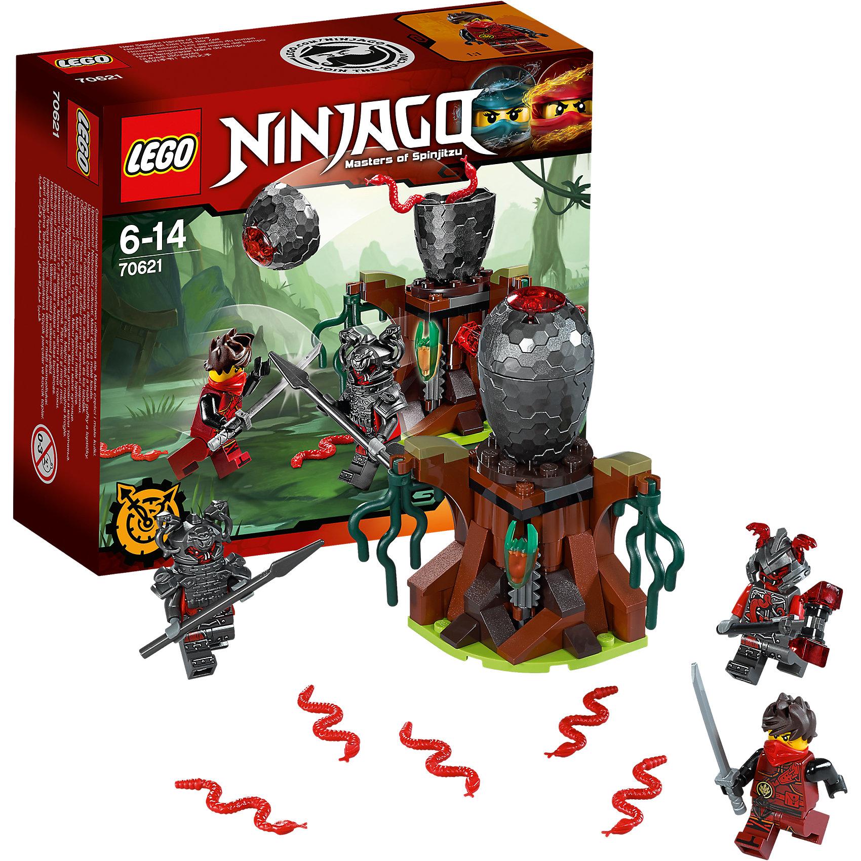 LEGO NINJAGO 70621: Атака Алой армииПластмассовые конструкторы<br>LEGO NINJAGO 70621: Атака Алой армии<br><br>Характеристики:<br><br>- в набор входит: детали машины и подставки, 3 минифигурки, 1 клинок времени, аксессуары, красочная инструкция по сборке<br>- минифигурки набора: Кай, Риветт, Слэкджо<br>- состав: пластик<br>- количество деталей: 83<br>- размер яйца вермиллионов: 10 * 7 * 7 см. <br>- для детей в возрасте: от 6 до 14 лет<br>- Страна производитель: Дания/Китай/Чехия<br><br>Легендарный конструктор LEGO (ЛЕГО) представляет серию «NINJAGO» (Ниндзяго) - это увлекательный мир воинов ниндзя против зла. Ребенку понравятся разнообразие приключений и возможности новых игр. <br><br>Большой детализированный пень с водорослями и аксессуарами стал пристанищем для вермиллионов, на нем расположено их огромное яйцо. Внутри пня находится механизм, который открывает яйцо, как будто он само треснуло и раскрылось. Внутри яйца находится пять вермиллионов, красных болотных змей, с ними и придется бороться ниндзям. Новый костюм Кая очень ему идет, новые рисунки, отличная маска и объемная прическа делают его еще более реалистичным, он вооружен серебрянной катаной. <br><br>Злодей Риветт представлен в тяжелом доспехе, на его шлеме расположены две змеи, под доспехами фигурка разрисована и все еще выглядит угрожающе, у фигурки два выражения лица. Второй злодей, Слэкджо, выступает в объемном шлеме и с большим молотом, у него также два лица. С помощью особых сил они хотят завладеть временем и вселенной Ниндзяго. Помоги Каю применить клинок времени и победить злодеев Алой армии. <br><br>Играя с конструктором ребенок развивает моторику рук, воображение и логическое мышление, научится собирать по инструкции и создавать свои модели. Придумывайте новые истории любимых героев с набором LEGO «NINJAGO»!<br><br>Конструктор LEGO NINJAGO 70621: Атака Алой армии можно купить в нашем интернет-магазине.<br><br>Ширина мм: 159<br>Глубина мм: 142<br>Высота мм: 63<br>Вес г: 126<br>Возраст от месяцев: 