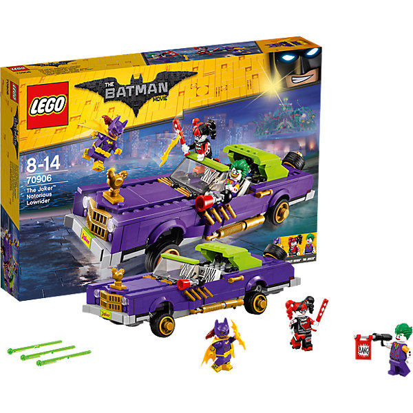 LEGO Batman Movie70906: Лоурайдер ДжокераПластмассовые конструкторы<br>LEGO Batman Movie 70906: Лоурайдер Джокера<br><br>Характеристики:<br><br>- в набор входит: машина, 3 фигурки, аксессуары, красочная инструкция<br>- минифигурки набора: Харли Квин, Джокер, Бэтгёрл<br>- состав: пластик<br>- количество деталей: 433<br>- размер коробки: 38 * 6 * 26 см.<br>- размер машины: 24 * 7 * 8 см.<br>- примерное время сборки: 60 мин.<br>- для детей в возрасте: от 8 до 14 лет<br>- Страна производитель: Дания/Китай/Чехия<br><br>Легендарный конструктор LEGO (ЛЕГО) представляет серию «Batman Movie» (Бэтмен Муви) по сюжету одноименного лего мультфильма. Серия понравится любителям комиксов DC и историй о Бэтмене. <br><br>Красивая модель лоурайера Джокера обладает отличным функционалом для игры, а также будет хорошо смотреться на полке коллекционеров серии. Прекрасно детализированные фигурки набора имеют по два выражения лица, яркие краски и уникальные прически, выпущенные специально для набора этой серии. <br><br>В аксессуары входит оружие Джокера – пистолет с флагом и надписью «Бэнг», бейсбольная бита Харли Квин, а также её роликовые коньки, желтый плащ Бэтгёрл, её боевой пояс и желтый бэторанг. Сам лоурайдер подобран под цвета злодея Джокера: фиолетовый, золотой и яркий салатовый. На капоте машины расположена золотая курица, а на номерах имеется наклейка «Джокер». <br><br>Машина максимально приближена к оригинальной модели, она оснащена стерео системой, дворниками, фарами, решеткой и аксессуарами. Гибкая подвеска лоурайдера может подниматься и опускаться благодаря специальному механизму, можно поднять левую сторону или правую, машина в таком виде может передвигаться под наклоном. Яркие кресла можно отгибать. Багажник открывается, обнаруживая две пружинные ракеты, в набор входит дополнительная ракета. Помоги Бэтгёрл остановить преступную парочку и восстановить порядок в Готем-сити!<br><br>Конструктор LEGO Batman Movie 70906: Лоурайдер Джокера можно купить в нашем интернет-магазине.<