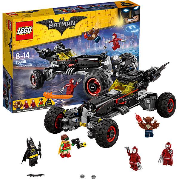 LEGO Batman Movie 70905: БэтмобильПластмассовые конструкторы<br>LEGO Batman Movie 70905: Бэтмобиль<br><br>Характеристики:<br><br>- в набор входит: детали Бэтмобиля, 5 минифигурок, аксессуары, красочная инструкция<br>- минифигурки набора: Бэтмен, Робин, Мэн-Бет, 2 мима Кабуки<br>- состав: пластик<br>- количество деталей: 581 <br>- размер Бэтмобиля: 29 * 10 * 15 см.<br>- примерное время сборки: 60 мин.<br>- для детей в возрасте: от 9 до 14 лет<br>- Страна производитель: Дания/Китай/Чехия<br><br>Легендарный конструктор LEGO (ЛЕГО) представляет серию «Batman Movie» (Бэтмен Муви) по сюжету одноименного лего мультфильма. Серия понравится любителям комиксов DC и историй о Бэтмене. <br><br>Большой Бэтмобиль с декоративными деталями выглядит очень реалистично. Бэтмобиль оснащен двумя боковыми пушками, стреляющими снарядами. Кабина с желтой прозрачной деталью открывается, на капоте небольшая летучая мышь. Автомобиль превращается во внедорожник, его подвеска увеличивается в четыре раза и бэтмобиль становится еще более устрашающим, сами колеса могут поворачиваться для параллельной парковки. Сзади бэтмобиля расположены мощные турбины. <br><br>В набор входят сразу пять минифигурок. Бэтмен отлично проработан, на нем черный тканевый плащ и отдельный желтый пояс, его напарник, Робин, тоже в плаще, на нем яркий красно-зеленый супергеройский костюм. <br><br>Против Бэтмена выступает Мен-Бэт с крыльями на руках и отлично проработанной прической и ушами, с ним в банде два мима Кабуки с тройными лезвия в руках. Опасная троица стремится захватить Готем-сити. Помоги Бэтмену и Робину остановить преступников и восстановить порядок в Готем-сити вместе с набором серии «Batman Movie»<br><br>Конструктор LEGO Batman Movie 70905: Бэтмобиль можно купить в нашем интернет-магазине.<br><br>Ширина мм: 383<br>Глубина мм: 264<br>Высота мм: 76<br>Вес г: 883<br>Возраст от месяцев: 96<br>Возраст до месяцев: 168<br>Пол: Мужской<br>Возраст: Детский<br>SKU: 5002435