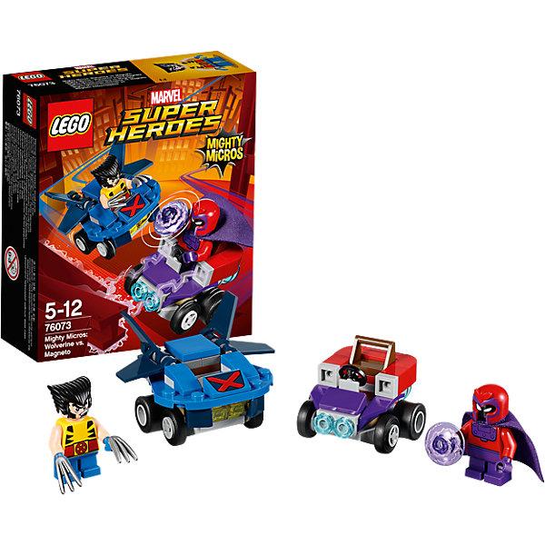LEGO Super Heroes 76073: Mighty Micros: Росомаха против МагнетоПластмассовые конструкторы<br>LEGO Super Heroes 76073: Mighty Micros: Росомаха против Магнето<br><br>Характеристики:<br><br>- в набор входит: детали двух транспортных средств, 2 минифигурки; аксессуары; инструкция по сборке<br>- минифигурки набора: Росомаха, Магнето<br>- состав: пластик<br>- количество деталей: 85<br>- размер самолета Росомахи: 5 * 4 * 3 см.<br>- размер машины Магнето: 5 * 4 * 3 см.<br>- для детей в возрасте: от 5 до 12 лет<br>- Страна производитель: Дания/Китай/Чехия<br><br>Легендарный конструктор LEGO (ЛЕГО) представляет серию «Super Heroes» (Супер герои) по сюжетам фильмов и мультфильмов о супергероях. Этот набор понравится любителям комиксов Marvel, мультфильмов и фильмов о Росомахе и Людях Х. <br><br>Фигурки набора выглядят ярко, очень качественно проработаны, в их разработке были использованы уникальные детали не встречающиеся в других наборах. Росомаха представлен с типичной для него прической и съемными клинками. Магнето в фиолетовом плаще представлен со своей угрожающей электрической силой. <br><br>В своем противостоянии соперники сели за руль машин, создав невероятные сцены погони и битвы. Скоростной самолет Росомахи оснащен мощными двойными крыльями и знаком Людей Х, самолет может передвигаться и по земле, как машина. Машина злодея Магнето выглядит как большой магнит, который усиливает его силы. Помоги Росомахе одержать верх над Магнето! <br><br>Играя с конструктором ребенок развивает моторику рук, воображение и логическое мышление, научится собирать по инструкции и создавать свои модели. Придумывайте новые истории любимых героев с набором LEGO «Super Heroes»!<br><br>Конструктор LEGO Super Heroes 76073: Mighty Micros: Росомаха против Магнето можно купить в нашем интернет-магазине.<br><br>Ширина мм: 142<br>Глубина мм: 122<br>Высота мм: 47<br>Вес г: 86<br>Возраст от месяцев: 60<br>Возраст до месяцев: 144<br>Пол: Мужской<br>Возраст: Детский<br>SKU: 5002436