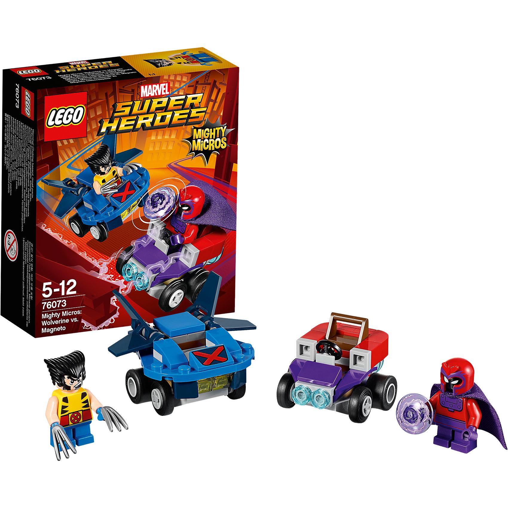 LEGO Super Heroes 76073: Mighty Micros: Росомаха против МагнетоLEGO Super Heroes 76073: Mighty Micros: Росомаха против Магнето<br><br>Характеристики:<br><br>- в набор входит: детали двух транспортных средств, 2 минифигурки; аксессуары; инструкция по сборке<br>- минифигурки набора: Росомаха, Магнето<br>- состав: пластик<br>- количество деталей: 85<br>- размер самолета Росомахи: 5 * 4 * 3 см.<br>- размер машины Магнето: 5 * 4 * 3 см.<br>- для детей в возрасте: от 5 до 12 лет<br>- Страна производитель: Дания/Китай/Чехия<br><br>Легендарный конструктор LEGO (ЛЕГО) представляет серию «Super Heroes» (Супер герои) по сюжетам фильмов и мультфильмов о супергероях. Этот набор понравится любителям комиксов Marvel, мультфильмов и фильмов о Росомахе и Людях Х. <br><br>Фигурки набора выглядят ярко, очень качественно проработаны, в их разработке были использованы уникальные детали не встречающиеся в других наборах. Росомаха представлен с типичной для него прической и съемными клинками. Магнето в фиолетовом плаще представлен со своей угрожающей электрической силой. <br><br>В своем противостоянии соперники сели за руль машин, создав невероятные сцены погони и битвы. Скоростной самолет Росомахи оснащен мощными двойными крыльями и знаком Людей Х, самолет может передвигаться и по земле, как машина. Машина злодея Магнето выглядит как большой магнит, который усиливает его силы. Помоги Росомахе одержать верх над Магнето! <br><br>Играя с конструктором ребенок развивает моторику рук, воображение и логическое мышление, научится собирать по инструкции и создавать свои модели. Придумывайте новые истории любимых героев с набором LEGO «Super Heroes»!<br><br>Конструктор LEGO Super Heroes 76073: Mighty Micros: Росомаха против Магнето можно купить в нашем интернет-магазине.<br><br>Ширина мм: 122<br>Глубина мм: 46<br>Высота мм: 141<br>Вес г: 88<br>Возраст от месяцев: 60<br>Возраст до месяцев: 144<br>Пол: Мужской<br>Возраст: Детский<br>SKU: 5002436