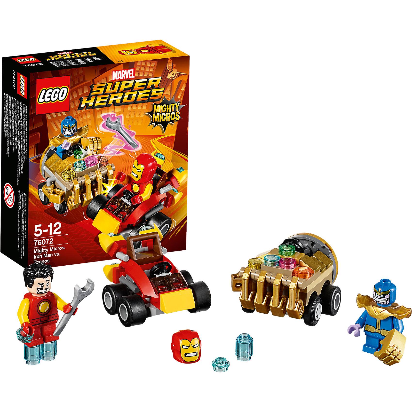 LEGO Super Heroes 76072: Mighty Micros: Железный человек против ТаносаКонструкторы Лего<br>LEGO Super Heroes 76072: Mighty Micros: Железный Человек против Таноса<br><br>Характеристики:<br><br>- в набор входит: детали двух транспортных средств, 2 минифигурки; аксессуары; инструкция по сборке<br>- минифигурки набора: Железный Человек, Танос<br>- состав: пластик<br>- количество деталей: 94<br>- размер машины Железного человека: 5 * 4 * 3 см.<br>- размер машины Таноса: 5 * 5 * 3 см.<br>- для детей в возрасте: от 5 до 12 лет<br>- Страна производитель: Дания/Китай/Чехия<br><br>Легендарный конструктор LEGO (ЛЕГО) представляет серию «Super Heroes» (Супер герои) по сюжетам фильмов и мультфильмов о супергероях. Этот набор понравится любителям комиксов Marvel, мультфильмов и фильмов о Железном Человеке. <br><br>Фигурки набора выглядят ярко, очень качественно проработаны, в их разработке были использованы уникальные детали не встречающиеся в других наборах. Железный Человек имеет отдельно шлем и прическу, которые можно менять, чтобы не скрывать личность Тони Старка, а также голубые детали костюма изображающие синие языки пламени. В набор входит и гаечный ключ, ведь Железный Человек построил свою машину сам. <br><br>В своем противостоянии соперники сели за руль машин, создав невероятные сцены погони и битвы. Скоростная машина Железного Человека оснащена дополнительными турбинами для скорости. Машина злодея Таноса выглядит как большой кулак, пальца кулака разгибаются, машина оснащена множеством неизвестных кнопок. Помоги Железному Человеку одержать верх над Таносом! <br><br>Играя с конструктором ребенок развивает моторику рук, воображение и логическое мышление, научится собирать по инструкции и создавать свои модели. Придумывайте новые истории любимых героев с набором LEGO «Super Heroes»!<br><br>Конструктор LEGO Super Heroes 76072: Mighty Micros: Железный Человек против Таноса можно купить в нашем интернет-магазине.<br><br>Ширина мм: 145<br>Глубина мм: 121<br>Высота мм: 50<br>Вес