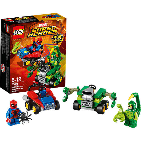 LEGO Super Heroes 76071: Mighty Micros: Человек-паук против СкорпионаПластмассовые конструкторы<br>LEGO Super Heroes 76071: Mighty Micros: Человек-паук против Скорпиона<br><br>Характеристики:<br><br>- в набор входит: детали двух транспортных средств, 2 минифигурки; аксессуары; инструкция по сборке<br>- минифигурки набора: Человек-паук, Скорпион<br>- состав: пластик<br>- количество деталей: 79 <br>- размер машины Человека-паука: 5 * 3 * 4 см.<br>- размер машины Скорпиона: 6 * 5 * 5 см.<br>- для детей в возрасте: от 5 до 12 лет<br>- Страна производитель: Дания/Китай/Чехия<br><br>Легендарный конструктор LEGO (ЛЕГО) представляет серию «Super Heroes» (Супер герои) по сюжетам фильмов и мультфильмов о супергероях. Этот набор понравится любителям комиксов Marvel, мультфильмов и фильмов о Человеке-пауке. <br><br>Фигурки набора выглядят ярко, очень качественно проработаны, в их разработке были использованы уникальные детали не встречающиеся в других наборах. В своем противостоянии соперники сели за руль машин, создав невероятные сцены погони и битвы. <br><br>Машина Скорпиона оснащена двумя движущимися руками с жалящими скорпионами и выглядит очень опасно. Сам Скорпион готов ужалить Человека-паука в любой момент и хочет подкинуть в кабину живого скорпиона, которого держит в руке. Человек-паук уверен в своих силах и прыгает за руль своей машины с маленьким, но мощным мотором. Он припас несколько сюрпризов для Скорпиона. Помоги Человеку-пауку одержать верх над Скорпионом! <br><br>Играя с конструктором ребенок развивает моторику рук, воображение и логическое мышление, научится собирать по инструкции и создавать свои модели. Придумывайте новые истории любимых героев с набором LEGO «Super Heroes»!<br><br>Конструктор LEGO Super Heroes 76071: Mighty Micros: Человек-паук против Скорпиона можно купить в нашем интернет-магазине.<br><br>Ширина мм: 143<br>Глубина мм: 122<br>Высота мм: 50<br>Вес г: 84<br>Возраст от месяцев: 60<br>Возраст до месяцев: 144<br>Пол: Мужской<br>Возраст: Детский<