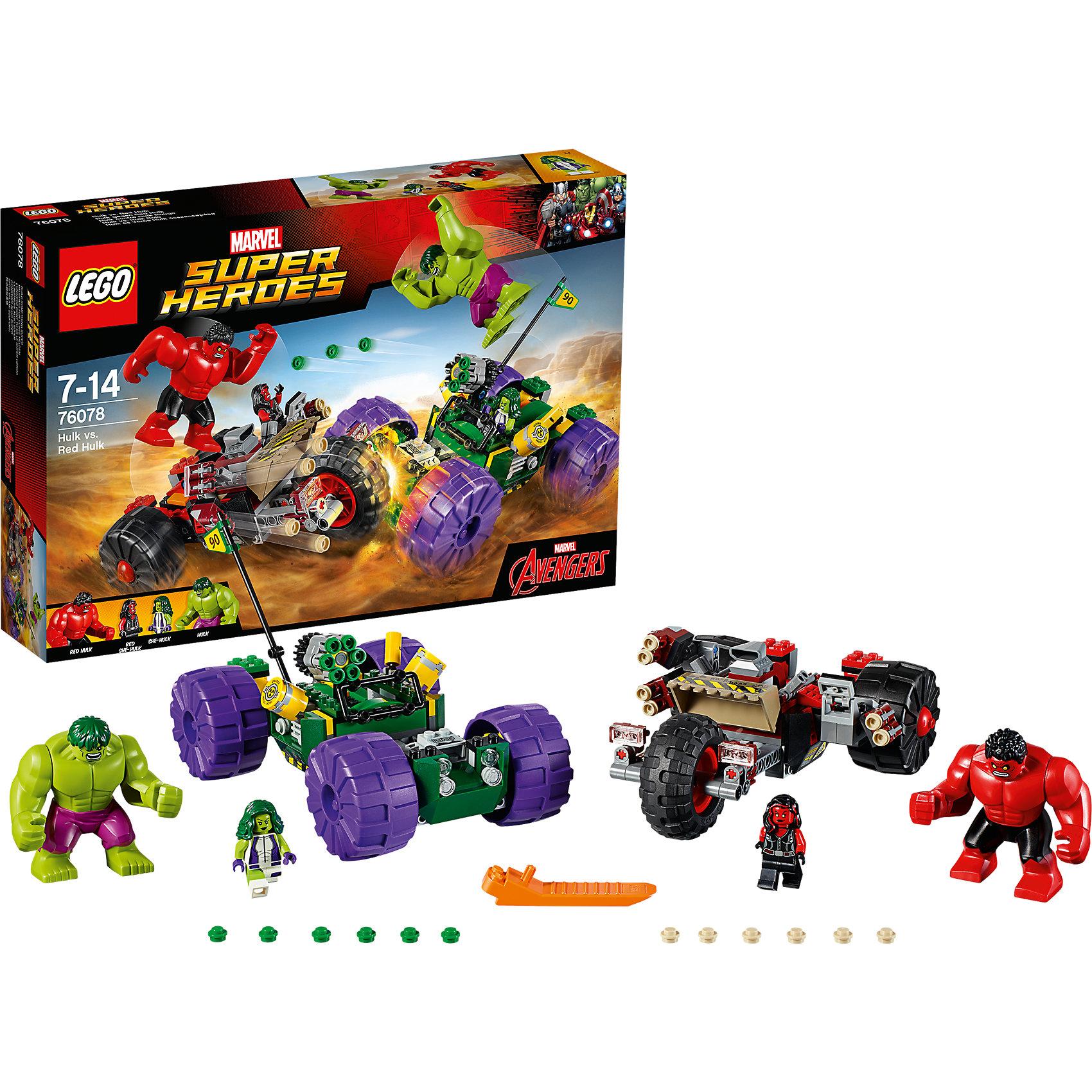 LEGO Super Heroes 76078: Халк против Красного ХалкаПластмассовые конструкторы<br>LEGO Super Heroes 76078: Халк против Красного Халка<br><br>Характеристики:<br><br>- в набор входит: детали двух транспортных средств, 2 Халка, 2 минифигурки, книга комиксов аксессуары, инструкция по сборке<br>- минифигурки набора: женщина-Халк, Красная женщина-Халк<br>- состав: пластик<br>- количество деталей: 375<br>- размер упаковки: 14 * 12 * 5 см.<br>- размер внедорожника Халка: 19 * 11 * 14 см.<br>- размер внедорожника Красного Халка: 19 * 7 * 14 см.<br>- для детей в возрасте: от 7 до 14 лет<br>- Страна производитель: Дания/Китай/Чехия<br><br>Легендарный конструктор LEGO (ЛЕГО) представляет серию «Marvel Super Heroes» (Супер герои) по сюжетам фильмов и мультфильмов о супергероях. Этот набор понравится любителям комиксов Marvel, мультфильмов и фильмов о Халке. <br><br>Две минифигурки набора выглядят потрясающе со своими рельефными и реалистичными прическами, комбинированным пластиком разных цветов и отличными рисунками на теле и на ногах фигурок, обе минифигурки имеют по два выражения лица. Большие фигурки набора выглядят ярко, очень качественно проработаны, в их разработке были использованы уникальные детали не встречающиеся в других наборах. <br><br>В своем противостоянии соперники сели за руль машин, создав невероятные сцены погони и битвы. Каждая из машин оснащена заводным механизмом и движется самостоятельно, при столкновении двух машин Халки выпрыгивают друг на друга в битве. Машина Красного Халка оснащена шестью пушками, стреляющими снарядами с помощью механизма, в машине Зеленого Халка установлена шестиснарядная пушка, также с механизмом стрельбы. Оба внедорожника готовы сразиться на любом поле боя, но кто же победит? Решать тебе! <br><br>Играя с конструктором ребенок развивает моторику рук, воображение и логическое мышление, научится собирать по инструкции и создавать свои модели. Придумывайте новые истории любимых героев с набором LEGO «Marvel Super Heroes»!<br><br>Констру