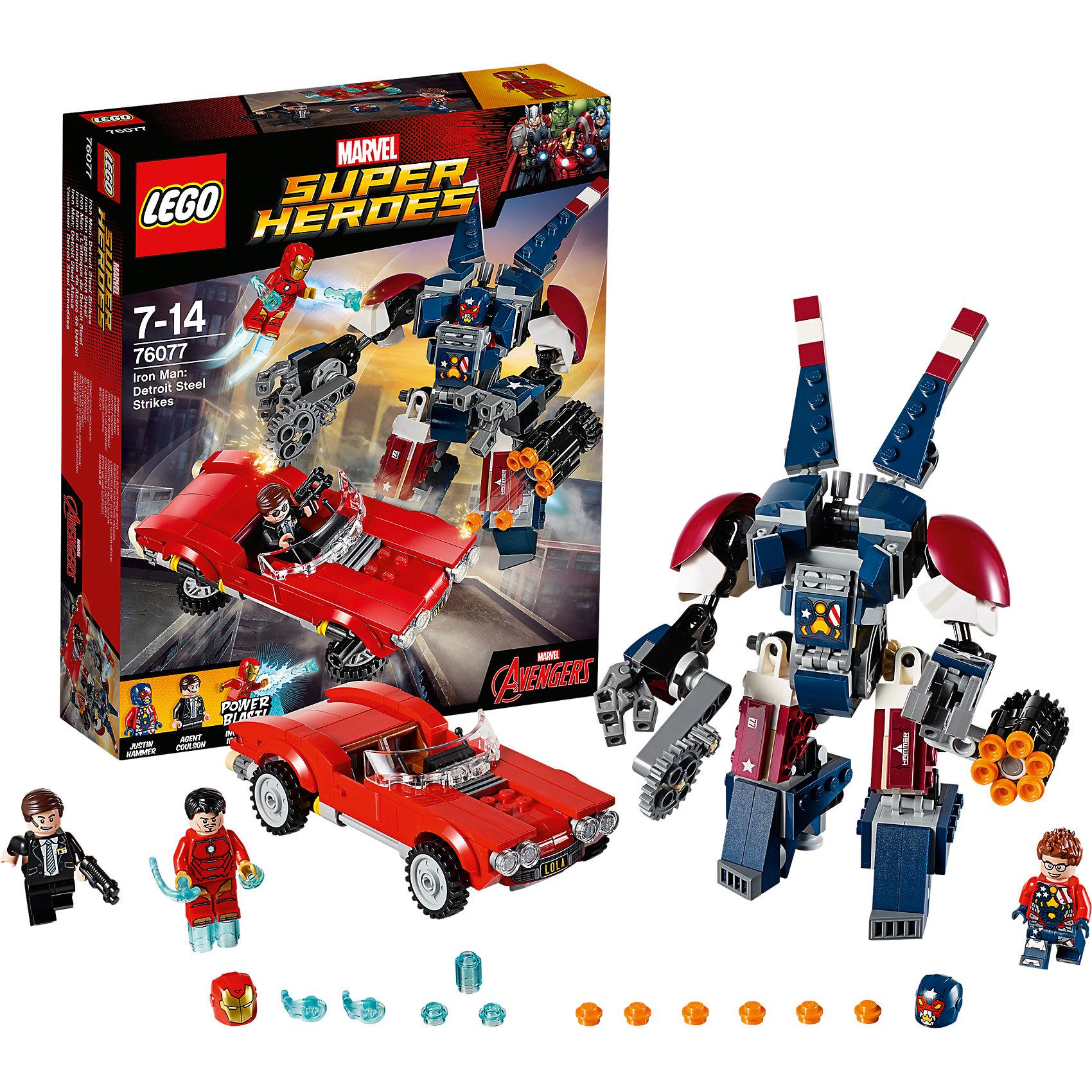 LEGO Super Heroes 76077: Железный человек: Стальной Детройт наносит ударПластмассовые конструкторы<br>LEGO Super Heroes 76077: Железный человек: Стальной Детройт наносит удар<br><br>Характеристики:<br><br>- в набор входит: детали машины и Детройта, 3 минифигурки, наклейки, аксессуары, книга комиксов, красочная инструкция по сборке<br>- минифигурки набора: Железный человек, Джастин Хаммер, Агент Колсон<br>- состав: пластик<br>- количество деталей: 377<br>- для детей в возрасте: от 7 до 14 лет<br>- Страна производитель: Дания/Китай/Чехия<br><br>Легендарный конструктор LEGO (ЛЕГО) представляет серию «Marvel Super Heroes» (Супер герои Марвел) по сюжетам фильмов, мультфильмов и комиксов о супергероях. <br><br>Этот набор понравится любителям фильмов Marvel о Железном человеке. Минифигурки набора выглядят ярко, очень качественно проработаны, в их разработке были использованы уникальные детали не встречающиеся в других наборах. Джастин Хаммер в своей броне Стального Детройта выполнен в очень качественной детализации. Минифигурка радует своими красочными рисунками, а броня имеет множество функций, руки и ноги выполнены с помощью шарнирных деталей и могут двигаться и принимать разные позы, правая рука оснащена бензопилой с двигающимся лезвием, а левая шестиснарядной пушкой со стреляющим механизмом (дополнительные снаряды входят в комплект). <br><br>Пальцы рук Стального Детройта сжимаются и могут захватывать предметы. Стильна красная машина агента Колсона оснащена панорамным ветровым стеклом, рычагами управления, открывающимися дверьми и может трансформироваться для полетов. <br><br>Сама фигурка агента отлично проработана, качественные рисунки на теле фигурки, рельефные волосы и два выражения лица. Под шлемом Железного Человека лицо Тони Старка, в комплект входит его прическа на замену шлема, у детройта в комплекте также есть прическа. Помогите Железному Человеку спасти город от злодея, ведь в этот раз он особенно силен! <br><br>Играя с конструктором ребенок развивает моторику