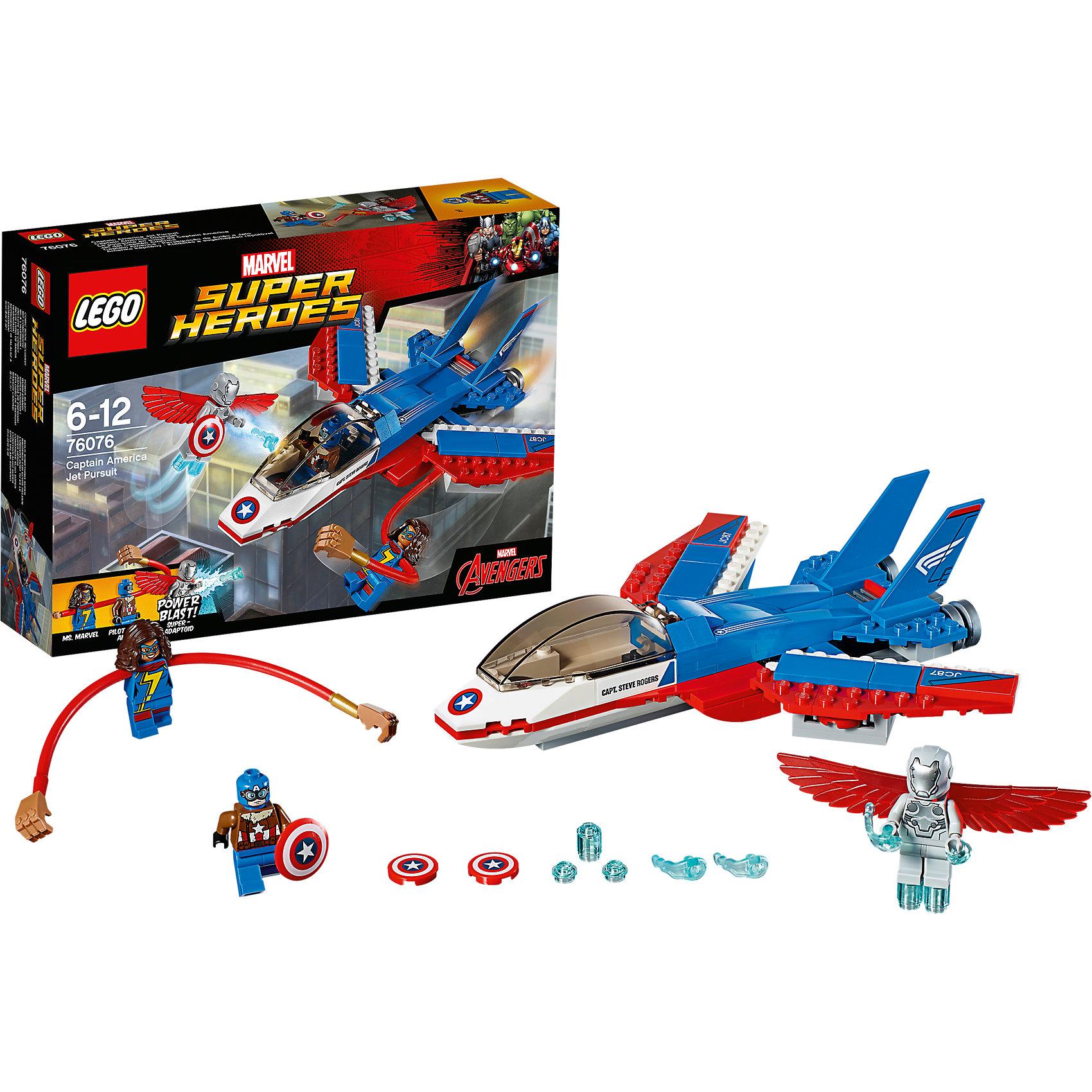 LEGO Super Heroes 76076: Воздушная погоня Капитана АмерикаПластмассовые конструкторы<br>LEGO Super Heroes 76076: Воздушная погоня Капитана Америка<br><br>Характеристики:<br><br>- в набор входит: детали самолёта, 3 минифигурки, наклейки, аксессуары, книга комиксов, красочная инструкция по сборке<br>- минифигурки набора: Капитан Америка, Мисс Марвел, Суперадаптоид <br>- состав: пластик<br>- количество деталей: 160<br>- для детей в возрасте: от 7 до 14 лет<br>- Страна производитель: Дания/Китай/Чехия<br><br>Легендарный конструктор LEGO (ЛЕГО) представляет серию «Marvel Super Heroes» (Супер герои Марвел) по сюжетам фильмов, мультфильмов и комиксов о супергероях. <br><br>Этот набор понравится любителям фильмов Marvel о Капитане Америка. Минифигурки набора выглядят ярко, очень качественно проработаны, в их разработке были использованы уникальные детали не встречающиеся в других наборах. Отличные принты Капитана делают его еще более реалистичным в набор входит его щит, который был украден злодеем Суперадаптоидом. Фигурка злодея оснащена мощными крыльями, которые являются частью его костюма. Мисс Марвел, помогающая Капитану в новой операции оснащена длинными гнущимися руками в соответствии с её суперспособностями, а рельефные волосы отлично сочетаются с костюмом. <br><br>Корабль Капитана Америки выполнен в бело-сине-красных цветах и обладает функцией стрельбы из двух нижних пушек. При атаке вылетают диски с символикой Капитана Америки, крылья самолета двигаются, кабина пилота открывается. На правой стороне наклейка с надписью «Капитан Стив Роджерс». Преследуйте злодея на самолете и верните щит Капитана Америки. <br><br>Играя с конструктором ребенок развивает моторику рук, воображение и логическое мышление, научится собирать по инструкции и создавать свои модели. Придумывайте новые истории любимых героев с набором LEGO «Marvel Super Heroes»!<br><br>Конструктор LEGO Super Heroes 76076: Воздушная погоня Капитана Америка можно купить в нашем интернет-магазине.<br><br>Ширина мм: