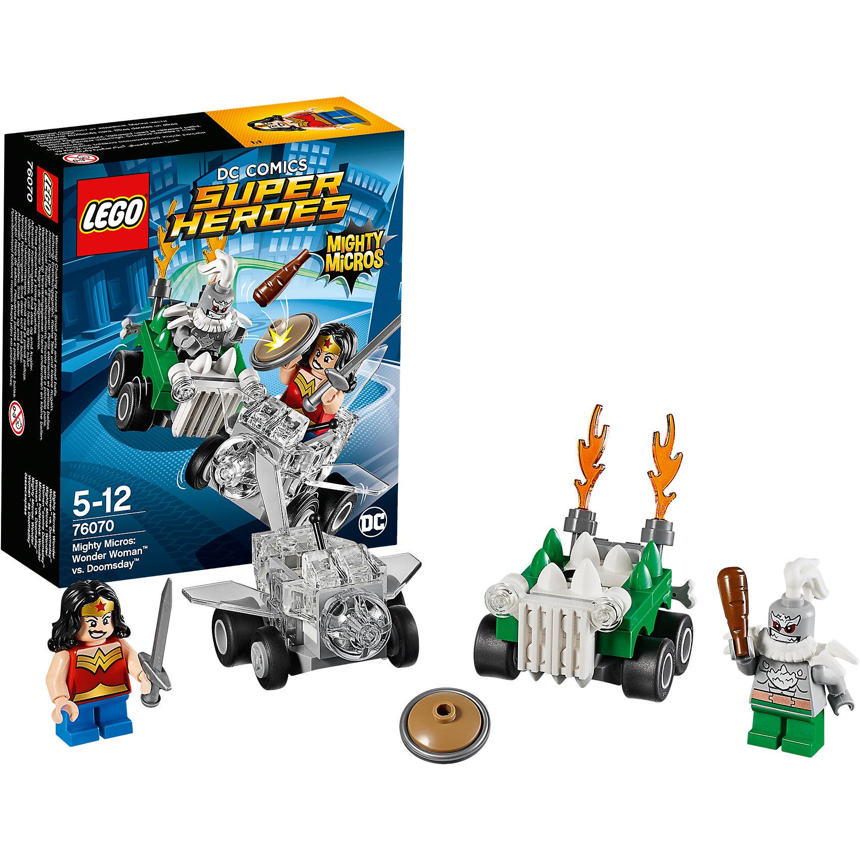 LEGO Super Heroes 76070: Mighty Micros: Чудо-женщина против ДумсдэяLEGO Super Heroes 76070: Mighty Micros: Чудо-женщина против Думсдэя<br><br>Характеристики:<br><br>- в набор входит: детали двух транспортных средств, 2 минифигурки; аксессуары; инструкция по сборке<br>- минифигурки набора: Чудо-женщина, Думсдэй<br>- состав: пластик<br>- количество деталей: 85 <br>- размер самолета Чудо-женщины: 6 * 1 * 4 см.<br>- размер машины Думсдэя: 7 * 4 * 4 см.<br>- для детей в возрасте: от 5 до 12 лет<br>- Страна производитель: Дания/Китай/Чехия<br><br>Легендарный конструктор LEGO (ЛЕГО) представляет серию «Super Heroes» (Супер герои) по сюжетам фильмов и мультфильмов о супергероях. Этот набор понравится любителям комиксов DC, мультфильмов и фильмов о Чудо-женщине. <br><br>Фигурки набора выглядят ярко, очень качественно проработаны, в их разработке были использованы уникальные детали не встречающиеся в других наборах. В своем противостоянии соперники сели за руль машин, создав невероятные сцены погони и битвы. <br><br>Чудо-женщина села за штурвал своего невидимого самолета, который может передвигаться по земле, как и машина. Отличная детализация прозрачными деталями делают ее самолет еще более реалистичным. Злодей Думсдэй сел за руль своего внедорожника, изрыгающего языки пламени, на кузове и капоте расположены угрожающие шипы. Помоги Чудо-женщине одержать верх над Думсдэем! <br><br>Играя с конструктором ребенок развивает моторику рук, воображение и логическое мышление, научится собирать по инструкции и создавать свои модели. Придумывайте новые истории любимых героев с набором LEGO «Super Heroes»!<br><br>Конструктор LEGO Super Heroes 76070: Mighty Micros: Чудо-женщина против Думсдэя можно купить в нашем интернет-магазине.<br><br>Ширина мм: 146<br>Глубина мм: 122<br>Высота мм: 50<br>Вес г: 83<br>Возраст от месяцев: 60<br>Возраст до месяцев: 144<br>Пол: Мужской<br>Возраст: Детский<br>SKU: 5002442