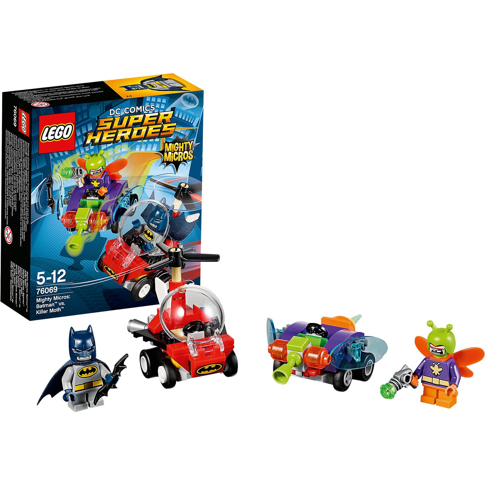 LEGO Super Heroes 76069: Mighty Micros: Бэтмен против Мотылька-убийцыПластмассовые конструкторы<br>LEGO Super Heroes 76069: Mighty Micros: Бэтмен против Мотылька-убийцы<br><br>Характеристики:<br><br>- в набор входит: детали двух транспортных средств, 2 минифигурки; аксессуары; инструкция по сборке<br>- минифигурки набора: Бэтмен, Мотылек-убийца<br>- состав: пластик<br>- количество деталей: 83 <br>- размер вертолета Бэтмена: 6 * 4 * 6 см.<br>- размер машины Мотылька-убийцы: 6 * 4 * 6см.<br>- для детей в возрасте: от 5 до 12 лет<br>- Страна производитель: Дания/Китай/Чехия<br><br>Легендарный конструктор LEGO (ЛЕГО) представляет серию «Super Heroes» (Супер герои) по сюжетам фильмов и мультфильмов о супергероях. Этот набор понравится любителям комиксов DC, мультфильмов и фильмов о Бэтмене. <br><br>Фигурки набора выглядят ярко, очень качественно проработаны, в их разработке были использованы уникальные детали не встречающиеся в других наборах. В своем противостоянии соперники сели за руль машин, создав невероятные сцены погони и битвы. Бетмэен сел за штурвал своего Бэт-вертолета, который может передвигаться по земле, развивая высокую скорость, благодаря могучим турбинам. Кабина вертолета открывается и защищает пилота от потоков воздуха. <br><br>Злодей Мотылек-убийца сел за руль своего мухомобиля, он вооружен опасным бластером. Бэтмен приготовил ему сюрприз в виде бетаранга. Помоги Бэтмену одержать верх над Мотыльком-убийцей! Играя с конструктором ребенок развивает моторику рук, воображение и логическое мышление, научится собирать по инструкции и создавать свои модели. Придумывайте новые истории любимых героев с набором LEGO «Super Heroes»!<br><br>Конструктор LEGO Super Heroes 76069: Mighty Micros: Бэтмен против Мотылька-убийцы можно купить в нашем интернет-магазине.<br><br>Ширина мм: 145<br>Глубина мм: 121<br>Высота мм: 50<br>Вес г: 94<br>Возраст от месяцев: 60<br>Возраст до месяцев: 144<br>Пол: Мужской<br>Возраст: Детский<br>SKU: 5002443