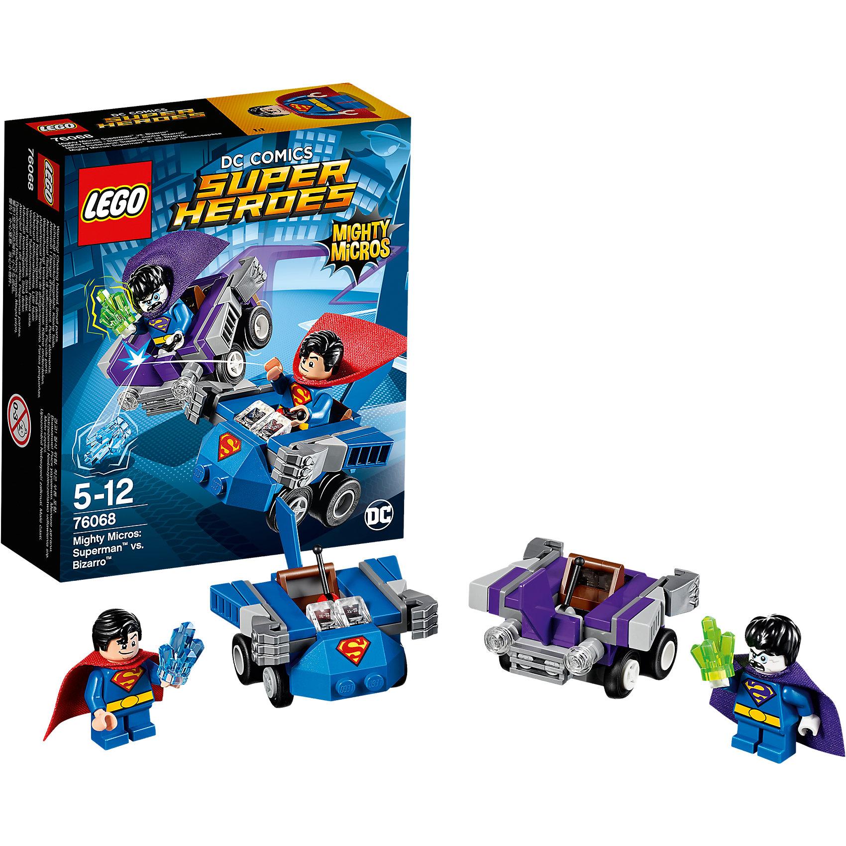 LEGO Super Heroes 76068: Mighty Micros: Супермен против БизарроПластмассовые конструкторы<br>LEGO Super Heroes 76068: Mighty Micros: Супермен против Бизарро<br><br>Характеристики:<br><br>- в набор входит: детали двух транспортных средств, 2 минифигурки; аксессуары; инструкция по сборке<br>- минифигурки набора: Супермен, Бизарро<br>- состав: пластик<br>- количество деталей: 93 <br>- размер машины Супермена: 6 * 4 * 5 см.<br>- размер машины Бизарро: 6 * 4 * 5 см.<br>- для детей в возрасте: от 5 до 12 лет<br>- Страна производитель: Дания/Китай/Чехия<br><br>Легендарный конструктор LEGO (ЛЕГО) представляет серию «Super Heroes» (Супер герои) по сюжетам фильмов и мультфильмов о супергероях. <br><br>Этот набор понравится любителям комиксов DC, мультфильмов и фильмов о Бэтмене. Фигурки набора выглядят ярко, очень качественно проработаны, в их разработке были использованы уникальные детали не встречающиеся в других наборах. В своем противостоянии соперники сели за руль машин, создав невероятные сцены погони и битвы. <br><br>Супермен сел за штурвал своей скоростной машины синего цвета с эмблемой супермена. Его машина оснащена рычагом управления и двумя мощными кулаками справедливости. Злодей Бизарро сел за руль фиолетовой машины, не уступающей по мощи машине Супермена. На машине злодея тоже установлены два кулака, кроме того, злодей взял с собой камень криптонит. Как Супермен выкрутится из этой переделки? Помоги ему одержать верх над Бизарро! <br><br>Играя с конструктором ребенок развивает моторику рук, воображение и логическое мышление, научится собирать по инструкции и создавать свои модели. Придумывайте новые истории любимых героев с набором LEGO «Super Heroes»!<br><br>Конструктор LEGO Super Heroes 76068: Mighty Micros: Супермен против Бизарро можно купить в нашем интернет-магазине.<br><br>Ширина мм: 143<br>Глубина мм: 122<br>Высота мм: 50<br>Вес г: 92<br>Возраст от месяцев: 60<br>Возраст до месяцев: 144<br>Пол: Мужской<br>Возраст: Детский<br>SKU: 5002444