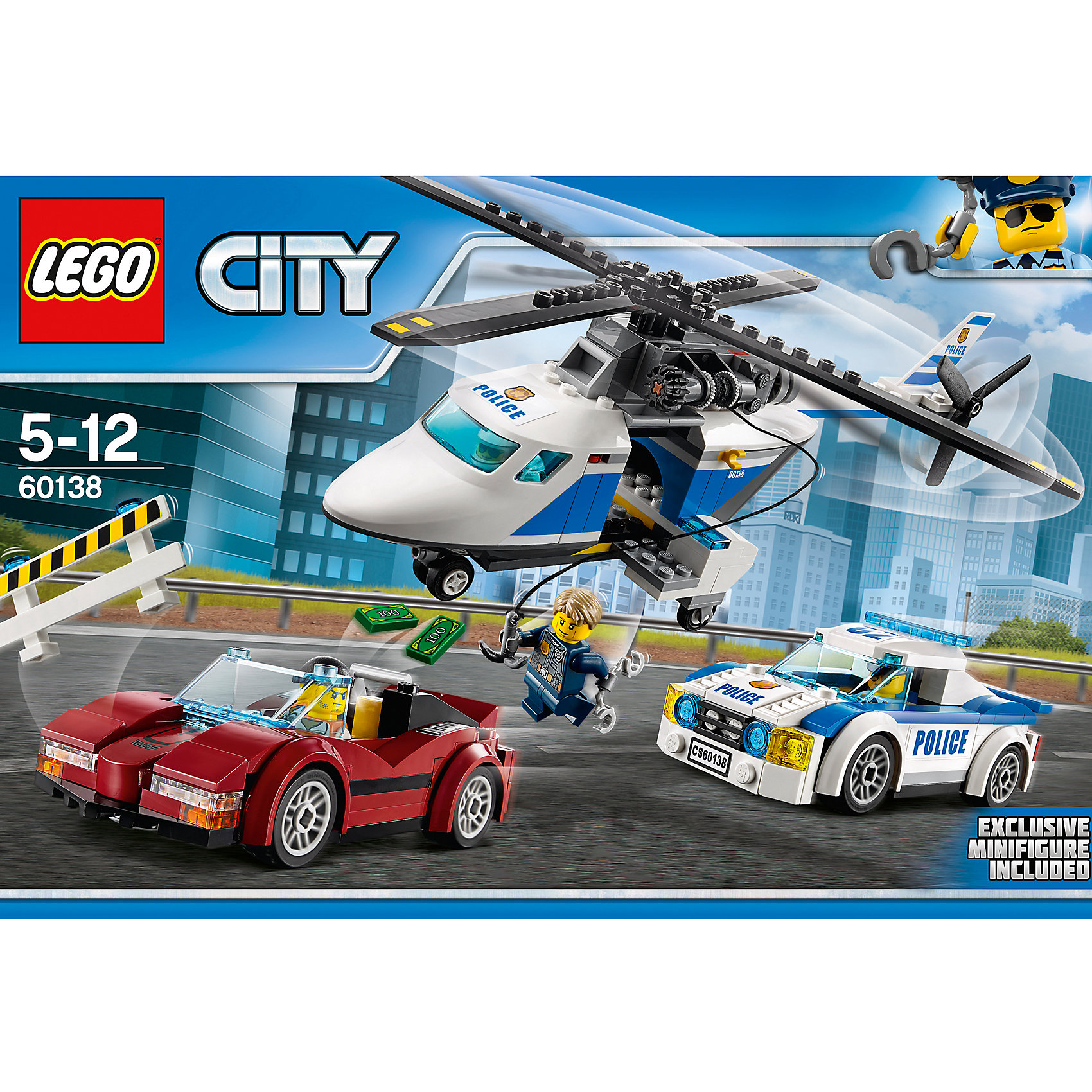 LEGO City 60138: Стремительная погоняПластмассовые конструкторы<br>LEGO City 60138: Стремительная погоня<br><br>Характеристики:<br><br>- в набор входит: вертолет, полицейская машина, спортивная машина, 4 фигурки, аксессуары, инструкция<br>- состав: пластик<br>- количество деталей: 294<br>- размер коробки: 38 * 7 * 26 см.<br>- размер спортивной машины: 12 * 5 * 4 см.<br>- размер полицейской машины: 11 * 5 * 4 см. <br>- размер вертолета: 33 * 26 * 11 см.<br>- для детей в возрасте: от 5 до 12 лет<br>- Страна производитель: Дания/Китай/Чехия<br><br>Легендарный конструктор LEGO (ЛЕГО) представляет серию «City» (Сити) в виде деталей жизни большого города, в котором есть абсолютно все. Серия делает игры еще более настоящими, благодаря отличным аксессуарам. Стражи закона Лего Сити всегда готовы прийти на помощь жителям города. На этот раз был замечен автомобиль, превышающий скорость. Как оказалось, машина был угнана. Патрульные полицейские перекрыли дорогу и вызвали в подмогу полицейский вертолет. Все детали на колесиках двигаются и подходят к другим наборам Лего. Вертолет и машины  отлично выполнены и содержат в своем составе много маленьких и уникальных деталей. Механизм лебедки в вертолете поможет полицейским захватить преступника с воздуха. Минифигурки отлично детализированы и качественно прорисованы. Шлемы полицейского снимается, а прозрачное стекло отодвигается назад. В набор аксессуаров входит перекрытие дороги, наручники, денежные детали, рация. Помоги полицейским добиться справедливости. Моделируй разные истории и ситуации в Лего Сити!<br><br>Конструктор LEGO City 60138: Стремительная погоня можно купить в нашем интернет-магазине.<br><br>Ширина мм: 382<br>Глубина мм: 261<br>Высота мм: 76<br>Вес г: 606<br>Возраст от месяцев: 60<br>Возраст до месяцев: 144<br>Пол: Мужской<br>Возраст: Детский<br>SKU: 5002452