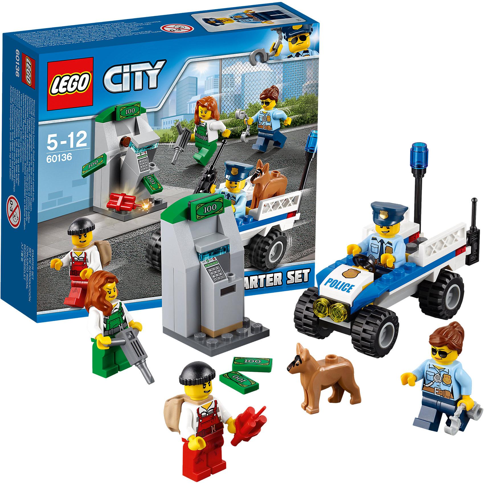 LEGO City 60136: Набор для начинающих «Полиция»Пластмассовые конструкторы<br>LEGO City 60136: Набор для начинающих «Полиция»<br><br>Характеристики:<br><br>- в набор входит: детали квадроцикла, 4 фигурки людей, фигурка собаки, аксессуары, инструкция<br>- состав: пластик<br>- количество деталей: 80<br>- размер коробки: 12 * 5 * 9 см.<br>- размер патрульной машины: 7 * 8 * 4 см.<br>- размер банкомата: 3 * 3 * 5 см. <br>- для детей в возрасте: от 5 до 12 лет<br>- Страна производитель: Дания/Китай/Чехия<br><br>Легендарный конструктор LEGO (ЛЕГО) представляет серию «City» (Сити) в виде деталей жизни большого города, в котором есть абсолютно все. Серия делает игры еще более настоящими, благодаря отличным аксессуарам. Стражи закона Лего Сити всегда готовы прийти на помощь жителям города. На этот раз двое грабителей решили взорвать банкомат открыть его с помощью дрели и своровать все деньги. Двое патрульных и полицейская собака были как раз в районе происшествия, когда по рации им передали новое задание. Они включили голубую сигнальную лампу и подоспели как раз вовремя. Минифигурки отлично детализированы и качественно прорисованы. В набор входит дрель, динамит, рюкзак, наручники, денежные детали. Деньги помещаются в банкомате и проходят в отверстие для купюр, сам банкомат раскладывается, позволяя вытаскивать деньги. Помоги полицейским добиться справедливости. Моделируй разные истории и ситуации в Лего Сити!<br><br>Конструктор  LEGO City 60136: Набор для начинающих «Полиция» можно купить в нашем интернет-магазине.<br><br>Ширина мм: 160<br>Глубина мм: 142<br>Высота мм: 48<br>Вес г: 121<br>Возраст от месяцев: 60<br>Возраст до месяцев: 144<br>Пол: Мужской<br>Возраст: Детский<br>SKU: 5002454