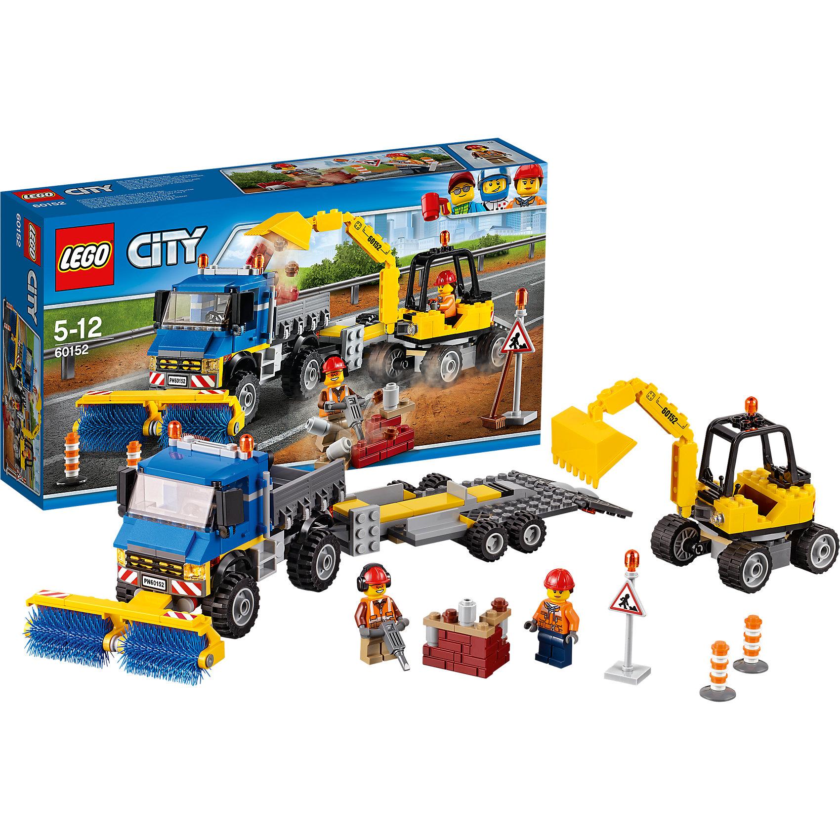 LEGO City 60152: Уборочная техникаПластмассовые конструкторы<br>LEGO City 60152: Уборочная техника<br><br>Характеристики:<br><br>- в набор входит: экскаватор, самосвал с прицепом, кирпичи, наклейки для оформления, 2 минифигурки, аксессуары, инструкция<br>- состав: пластик<br>- количество деталей: 299<br>- приблизительное время сборки: 60 минут<br>- размер коробки: 19 * 7 * 35 см.<br>- размер экскаватора: 13 * 6 * 8 см.<br>- размер прицепа: 17 * 8 * 3 см.<br>- размер самосвала: 16 * 9 * 9 см.<br>- для детей в возрасте: от 5 до 12 лет<br>- Страна производитель: Дания/Китай/Чехия<br><br>Легендарный конструктор LEGO (ЛЕГО) представляет серию «City» (Сити) в виде деталей жизни большого города, в котором есть абсолютно все. Серия делает игры еще более настоящими, благодаря отличным аксессуарам. После демонтажа здания рабочим нужно привести в порядок улицу города. Самосвал с помощью вращающихся щеток собирает мусор. Экскаватор с движущимся ковшом и поворачивающейся кабиной собирает кирпичики и прочие части и складывает их в кузов самосвалу, чтобы вывезти все ненужное. Рабочие делают все возможное, чтобы город был чистым и мог развиваться. Отлично прорисованная униформа рабочих добавляет им реалистичности. У каждого рабочего имеется защитная каска, а для работающего с отбойным молотком предусмотрены шумоподавляющие наушники. В дополнение в набор входят аксессуары для перекрытия дороги в виде знака и двух конусов. После завершения работ экскаватор погружается в прицеп и транспортируется самосвалом. Моделируй разные истории и ситуации в Лего Сити, а в процессе игры развивай творческие способности и претворяй свои идеи в жизнь. Этот интересный набор отлично подойдет как новичкам Лего, так и преданным фанатам и коллекционерам серии.<br><br>Конструктор LEGO City 60152: Уборочная техника можно купить в нашем интернет-магазине.<br><br>Ширина мм: 359<br>Глубина мм: 192<br>Высота мм: 76<br>Вес г: 555<br>Возраст от месяцев: 60<br>Возраст до месяцев: 144<br>Пол: Мужской<br>Возраст: Де