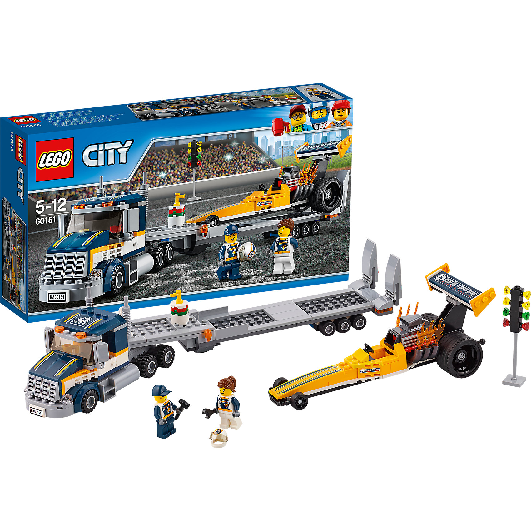 LEGO City 60151: Грузовик для перевозки драгстераПластмассовые конструкторы<br>LEGO City 60151: Грузовик для перевозки драгстера<br><br>Характеристики:<br><br>- в набор входит: грузовик с прицепом, гоночный болид, наклейки для оформления, 2 минифигурки, аксессуары, инструкция<br>- состав: пластик<br>- количество деталей: 333<br>- приблизительное время сборки: 60 минут<br>- размер коробки: 19 * 7 * 35 см.<br>- размер грузовика: 14 * 5 * 8 см.<br>- размер прицепа: 5 * 2 * 29 см.<br>- размер болида: 21 * 6 * 8 см.<br>- для детей в возрасте: от 5 до 12 лет<br>- Страна производитель: Дания/Китай/Чехия<br><br>Легендарный конструктор LEGO (ЛЕГО) представляет серию «City» (Сити) в виде деталей жизни большого города, в котором есть абсолютно все. Серия делает игры еще более настоящими, благодаря отличным аксессуарам. Сезон гонок на скоростных драгстерах октрыт! Два отважных гонщика перегоняют свой гоночный болид на место гоночного трека. Специальный Грузовик, выполненный из множества деталей поможет осуществитьмягкую перевозку дорогостоящего драгстера. Благодаря деталям капота, крыши, зеркалам заднего вида и 12ти колесам  грузовик с прицепом выглядит как настоящий. Скоростной болид представлен в ярком желтом цвете в сочетании с черными деталями. Отлично проработан двигатель драгстера, огненные детали показывают ревущий мотор. Команда гонщиков поддерживает друг друга. Две минифигурки одеты в похожие комбинезоны и могут меняться ролями механика и гонщика на ваше усмотрение. Фигурки отлично прорисованы и качественно детализированы, шлем гонщика с защитно прозрачной частью одевается на обе фигурки, а сама защитная часть двигается. Моделируй разные истории и ситуации в Лего Сити, а в процессе игры развивай творческие способности и претворяй свои идеи в жизнь. Этот интересный набор отлично подойдет как новичкам Лего, так и преданным фанатам и коллекционерам серии.<br><br>Конструктор LEGO City 60151: Грузовик для перевозки драгстера можно купить в нашем интернет-магазине.<br><br>Ши