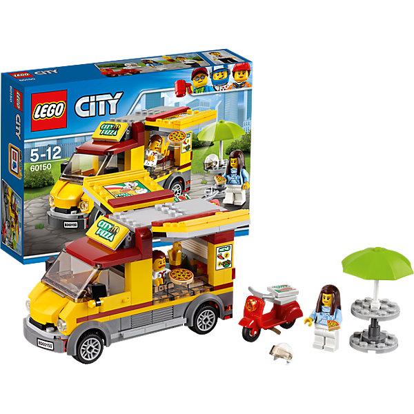 LEGO City 60150: Фургон-пиццерияПластмассовые конструкторы<br>LEGO City 60150: Фургон-пиццерия<br><br>Характеристики:<br><br>- в набор входит: фургон-пиццерия, скутер, столик с зонтом, наклейки для оформления, 2 минифигурки, аксессуары, инструкция<br>- состав: пластик<br>- количество деталей: 249<br>- приблизительное время сборки: 40 минут<br>- размер фургона: 14 * 5 * 8 см.<br>- размер скутера: 5 * 2 * 3 см.<br>- для детей в возрасте: от 5 до 12 лет<br>- Страна производитель: Дания/Китай/Чехия<br><br>Легендарный конструктор LEGO (ЛЕГО) представляет серию «City» (Сити) в виде деталей жизни большого города, в котором есть абсолютно все. Серия делает игры еще более настоящими, благодаря отличным аксессуарам. Солнечный день в Лего Сити, а это значит, что пришло время для сочной итальянской пиццы! По городу ездит фургончик, предлагающий жителям лучшую пиццу в городе. Фургончик оснащен всем необходимым, от духовки и кассы до банки под чаевые. У продавца вы можете заказать пиццу, картошку фри и напиток на свой вкус. Детали капота и крыши фургончика  добавляют ему реалистичности. В набор входит второе транспортное средство – скутер, а также пицца в коробке, чтобы пицца могла быть доставлена в любую точку города. Для желающих покушать на месте есть небольшая стойка с зонтом от солнца. Кроме продавца-повара в набор входит девушка. Она может быть посетительницей или работницей, которая развозит пиццу. А может, она просто приехала на своем мопеде к фургончику чтобы вкусно перекусить и захватить коробочку пиццы для друзей. Моделируй разные истории и ситуации в Лего Сити, а в процессе игры развивай творческие способности и претворяй свои идеи в жизнь. Этот интересный набор отлично подойдет как новичкам Лего, так и преданным фанатам и коллекционерам серии.<br><br>Конструктор LEGO City 60150: Фургон-пиццерия можно купить в нашем интернет-магазине.<br>Ширина мм: 265; Глубина мм: 190; Высота мм: 63; Вес г: 392; Возраст от месяцев: 60; Возраст до месяцев: 144; Пол: Мужской; Возраст: 