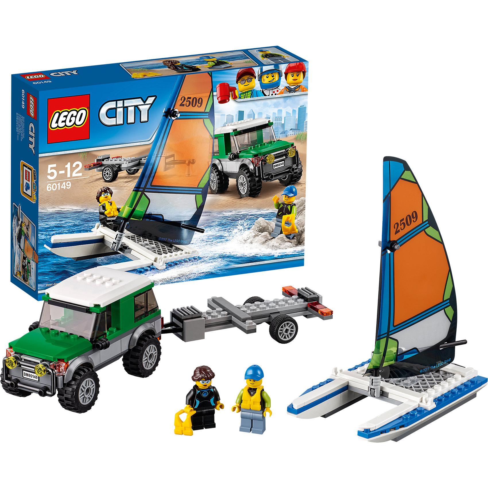 LEGO City 60149: Внедорожник с прицепом для катамаранаLEGO City 60149: Внедорожник с прицепом для катамарана<br><br>Характеристики:<br><br>- в набор входит: детали внедорожника с прицепом, катамаран, наклейки для оформления, 2 минифигурки, аксессуары, инструкция<br>- состав: пластик<br>- количество деталей: 198<br>- приблизительное время сборки: 40 минут<br>- размер коробки: 19 * 7 * 26 см.<br>- размер внедорожника: 12 * 5 * 7 см.<br>- размер катамарана: 14 * 8 * 18 см.<br>- для детей в возрасте: от 5 до 12 лет<br>- Страна производитель: Дания/Китай/Чехия<br><br>Легендарный конструктор LEGO (ЛЕГО) представляет серию «City» (Сити) в виде деталей жизни большого города, в котором есть абсолютно все. Серия делает игры еще более настоящими, благодаря отличным аксессуарам. Сезон водных видов спорта открыт! Фигурки пловцов отлично детализированы и качественно прорисованы, на каждую фигурку одет спасательный жилет. Интересный катамаран с новыми деталями серии 2017 года готов взять на борт отважных искателей приключений. Мачта поднимается и опускается. Зафиксировав свой катамаран в прицепе можно отправиться на пляж в двухместном внедорожнике. Благодаря деталям крыши, капота и детальным колесам внедорожник очень похож на настоящий. Вместительный багажник поможет взять с собой все необходимое. Сразу два транспорта в одном наборе! Моделируй разные истории и ситуации в Лего Сити, а в процессе игры развивай творческие способности и претворяй свои идеи в жизнь. Этот интересный набор отлично подойдет как новичкам Лего, так и преданным фанатам и коллекционерам серии.<br><br>Конструктор LEGO City 60149: Внедорожник с прицепом для катамарана можно купить в нашем интернет-магазине.<br><br>Ширина мм: 262<br>Глубина мм: 61<br>Высота мм: 191<br>Вес г: 400<br>Возраст от месяцев: 60<br>Возраст до месяцев: 144<br>Пол: Мужской<br>Возраст: Детский<br>SKU: 5002459