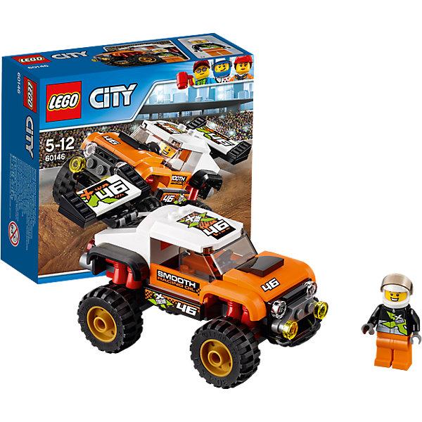 LEGO City 60146: Внедорожник каскадераПластмассовые конструкторы<br>LEGO City 60146: Внедорожник каскадера<br><br>Характеристики:<br><br>- в набор входит: детали внедорожника, наклейки для оформления, минифигурка, инструкция<br>- состав: пластик<br>- количество деталей: 91<br>- приблизительное время сборки: 20 минут<br>- размер коробки: 15 * 6 * 14 см.<br>- размер внедорожника: 12 * 6 * 6 см.<br>- для детей в возрасте: от 5 до 12 лет<br>- Страна производитель: Дания/Китай/Чехия<br><br>Легендарный конструктор LEGO (ЛЕГО) представляет серию «City» (Сити) в виде деталей жизни большого города, в котором есть абсолютно все. Серия делает игры еще более настоящими, благодаря отличным аксессуарам. Каскадерские трюки очень популярны в лего сити. Этот яркий внедорожник со спортивным дизайном побеждает на экстремальных соревнованиях каскадеров и участвует в популярных фильмах. Очень интересные детали крыши кабины, спойлера и выхлопной трубы выделяют внедорожник этого набора. Датели отлично смотрятся как на этой модели, так и на будущих самодельных вариантах средств передвижения. Кабина водителя защищена прочными стеклами. Сам каскадер отлично детализирован и качественно прорисован. Его оранжево-черный костюм отлично сочетается со шлемом безопасности. Стекло шлема поднимается и опускается, а сам шлем можно снимать. Этот интересный набор отлично подойдет как новичкам Лего, так и преданным фанатам и коллекционерам серии. Моделируй разные истории и ситуации в Лего Сити, а в процессе игры развивай творческие способности и претворяй свои идеи в жизнь.<br><br>Конструктор LEGO City 60146: Внедорожник каскадера можно купить в нашем интернет-магазине.<br><br>Ширина мм: 162<br>Глубина мм: 144<br>Высота мм: 63<br>Вес г: 177<br>Возраст от месяцев: 60<br>Возраст до месяцев: 144<br>Пол: Мужской<br>Возраст: Детский<br>SKU: 5002462