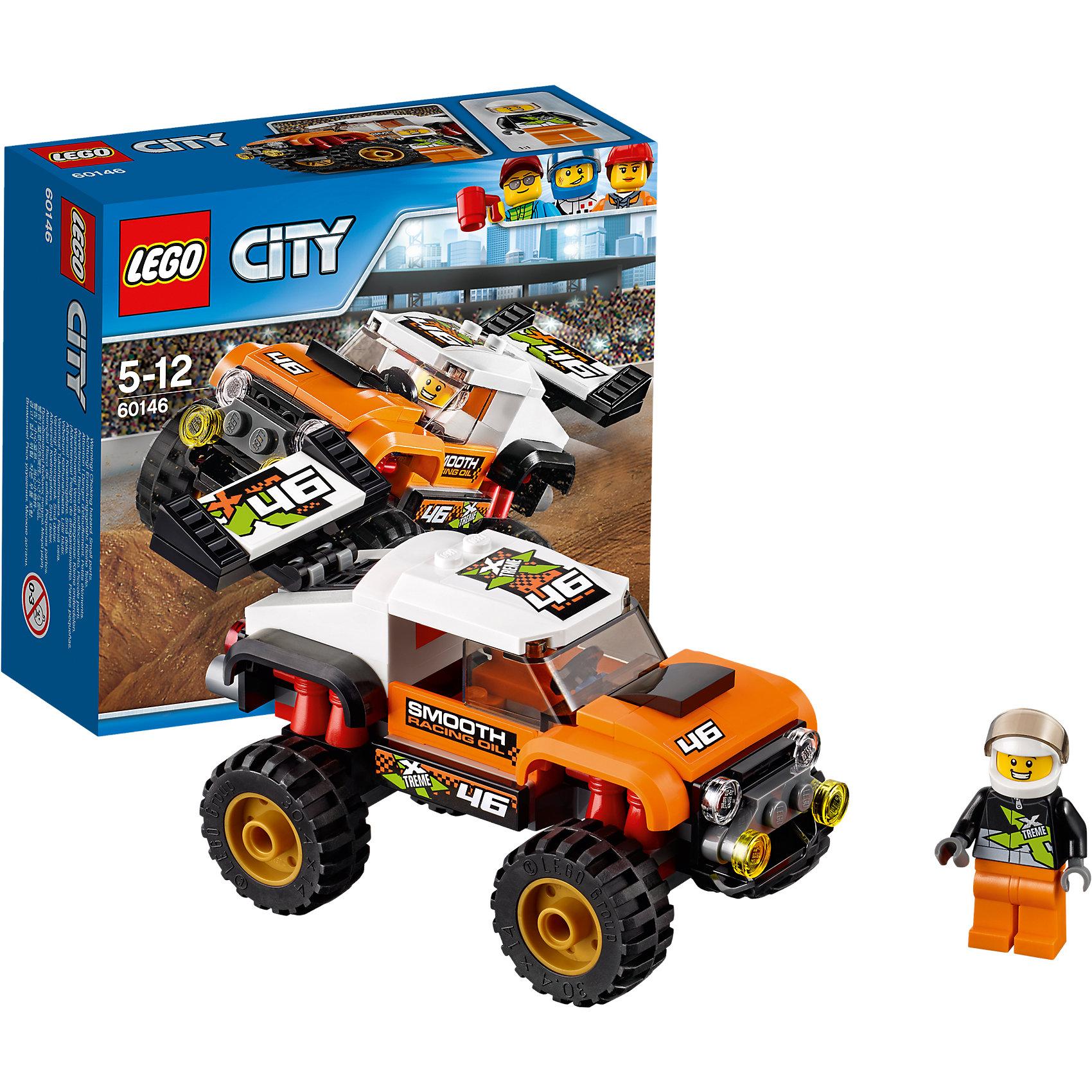 LEGO City 60146: Внедорожник каскадераLEGO City 60146: Внедорожник каскадера<br><br>Характеристики:<br><br>- в набор входит: детали внедорожника, наклейки для оформления, минифигурка, инструкция<br>- состав: пластик<br>- количество деталей: 91<br>- приблизительное время сборки: 20 минут<br>- размер коробки: 15 * 6 * 14 см.<br>- размер внедорожника: 12 * 6 * 6 см.<br>- для детей в возрасте: от 5 до 12 лет<br>- Страна производитель: Дания/Китай/Чехия<br><br>Легендарный конструктор LEGO (ЛЕГО) представляет серию «City» (Сити) в виде деталей жизни большого города, в котором есть абсолютно все. Серия делает игры еще более настоящими, благодаря отличным аксессуарам. Каскадерские трюки очень популярны в лего сити. Этот яркий внедорожник со спортивным дизайном побеждает на экстремальных соревнованиях каскадеров и участвует в популярных фильмах. Очень интересные детали крыши кабины, спойлера и выхлопной трубы выделяют внедорожник этого набора. Датели отлично смотрятся как на этой модели, так и на будущих самодельных вариантах средств передвижения. Кабина водителя защищена прочными стеклами. Сам каскадер отлично детализирован и качественно прорисован. Его оранжево-черный костюм отлично сочетается со шлемом безопасности. Стекло шлема поднимается и опускается, а сам шлем можно снимать. Этот интересный набор отлично подойдет как новичкам Лего, так и преданным фанатам и коллекционерам серии. Моделируй разные истории и ситуации в Лего Сити, а в процессе игры развивай творческие способности и претворяй свои идеи в жизнь.<br><br>Конструктор LEGO City 60146: Внедорожник каскадера можно купить в нашем интернет-магазине.<br><br>Ширина мм: 157<br>Глубина мм: 61<br>Высота мм: 141<br>Вес г: 172<br>Возраст от месяцев: 60<br>Возраст до месяцев: 144<br>Пол: Мужской<br>Возраст: Детский<br>SKU: 5002462