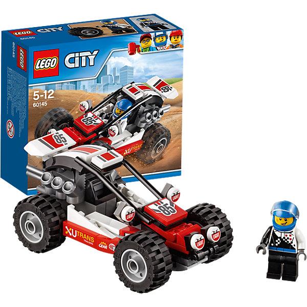 LEGO City 60145: БаггиПластмассовые конструкторы<br>LEGO City 60145: Багги<br><br>Характеристики:<br><br>- в набор входит: детали багги, наклейки для оформления, минифигурка, инструкция<br>- состав: пластик<br>- количество деталей: 81<br>- приблизительное время сборки: 20 минут<br>- размер коробки: 15 * 6 * 14 см.<br>- вес: 150 гр.<br>- размер багги: 12 * 6 * 6 см.<br>- для детей в возрасте: от 5 до 12 лет<br>- Страна производитель: Дания/Китай/Чехия<br><br>Легендарный конструктор LEGO (ЛЕГО) представляет серию «City» (Сити) в виде деталей жизни большого города, в котором есть абсолютно все. Серия делает игры еще более настоящими, благодаря отличным аксессуарам. Гонки на багги – очень популярный спорт в лего сити. Этот яркий гоночный багги со спортивным дизайном победил не в одной гонке! Очень интересные детали мотора, турбин и рельефных колес выделяют багги этого набора. Датели отлично смотрятся как на этой модели, так и на будущих самодельных вариантах передвижных средств. Кабина водителя защищена прочными трубами. Сам водитель отлично детализирован и качественно прорисован. Его сине-черный комбинезон отлично сочетается со шлемом безопасности. Стекло шлема поднимается и опускается, а сам шлем можно снимать. Этот интересный набор отлично подойдет как новичкам Лего, так и преданным фанатам и коллекционерам серии. Моделируй разные истории и ситуации в Лего Сити, а в процессе игры развивай творческие способности и претворяй свои идеи в жизнь.<br><br>Конструктор LEGO City 60145: Багги можно купить в нашем интернет-магазине.<br><br>Ширина мм: 158<br>Глубина мм: 144<br>Высота мм: 66<br>Вес г: 153<br>Возраст от месяцев: 60<br>Возраст до месяцев: 144<br>Пол: Мужской<br>Возраст: Детский<br>SKU: 5002463