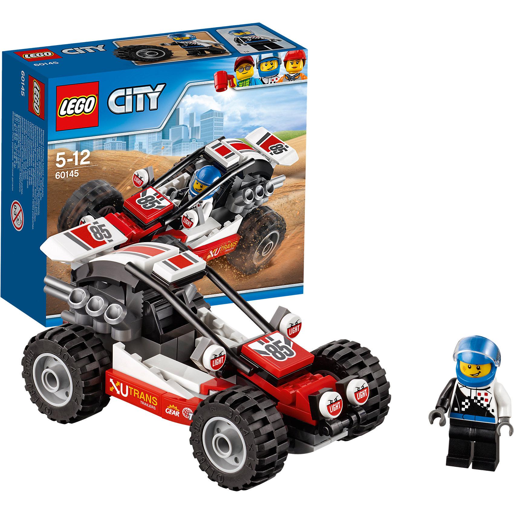 LEGO City 60145: БаггиLEGO City 60145: Багги<br><br>Характеристики:<br><br>- в набор входит: детали багги, наклейки для оформления, минифигурка, инструкция<br>- состав: пластик<br>- количество деталей: 81<br>- приблизительное время сборки: 20 минут<br>- размер коробки: 15 * 6 * 14 см.<br>- вес: 150 гр.<br>- размер багги: 12 * 6 * 6 см.<br>- для детей в возрасте: от 5 до 12 лет<br>- Страна производитель: Дания/Китай/Чехия<br><br>Легендарный конструктор LEGO (ЛЕГО) представляет серию «City» (Сити) в виде деталей жизни большого города, в котором есть абсолютно все. Серия делает игры еще более настоящими, благодаря отличным аксессуарам. Гонки на багги – очень популярный спорт в лего сити. Этот яркий гоночный багги со спортивным дизайном победил не в одной гонке! Очень интересные детали мотора, турбин и рельефных колес выделяют багги этого набора. Датели отлично смотрятся как на этой модели, так и на будущих самодельных вариантах передвижных средств. Кабина водителя защищена прочными трубами. Сам водитель отлично детализирован и качественно прорисован. Его сине-черный комбинезон отлично сочетается со шлемом безопасности. Стекло шлема поднимается и опускается, а сам шлем можно снимать. Этот интересный набор отлично подойдет как новичкам Лего, так и преданным фанатам и коллекционерам серии. Моделируй разные истории и ситуации в Лего Сити, а в процессе игры развивай творческие способности и претворяй свои идеи в жизнь.<br><br>Конструктор LEGO City 60145: Багги можно купить в нашем интернет-магазине.<br><br>Ширина мм: 157<br>Глубина мм: 61<br>Высота мм: 141<br>Вес г: 169<br>Возраст от месяцев: 60<br>Возраст до месяцев: 144<br>Пол: Мужской<br>Возраст: Детский<br>SKU: 5002463