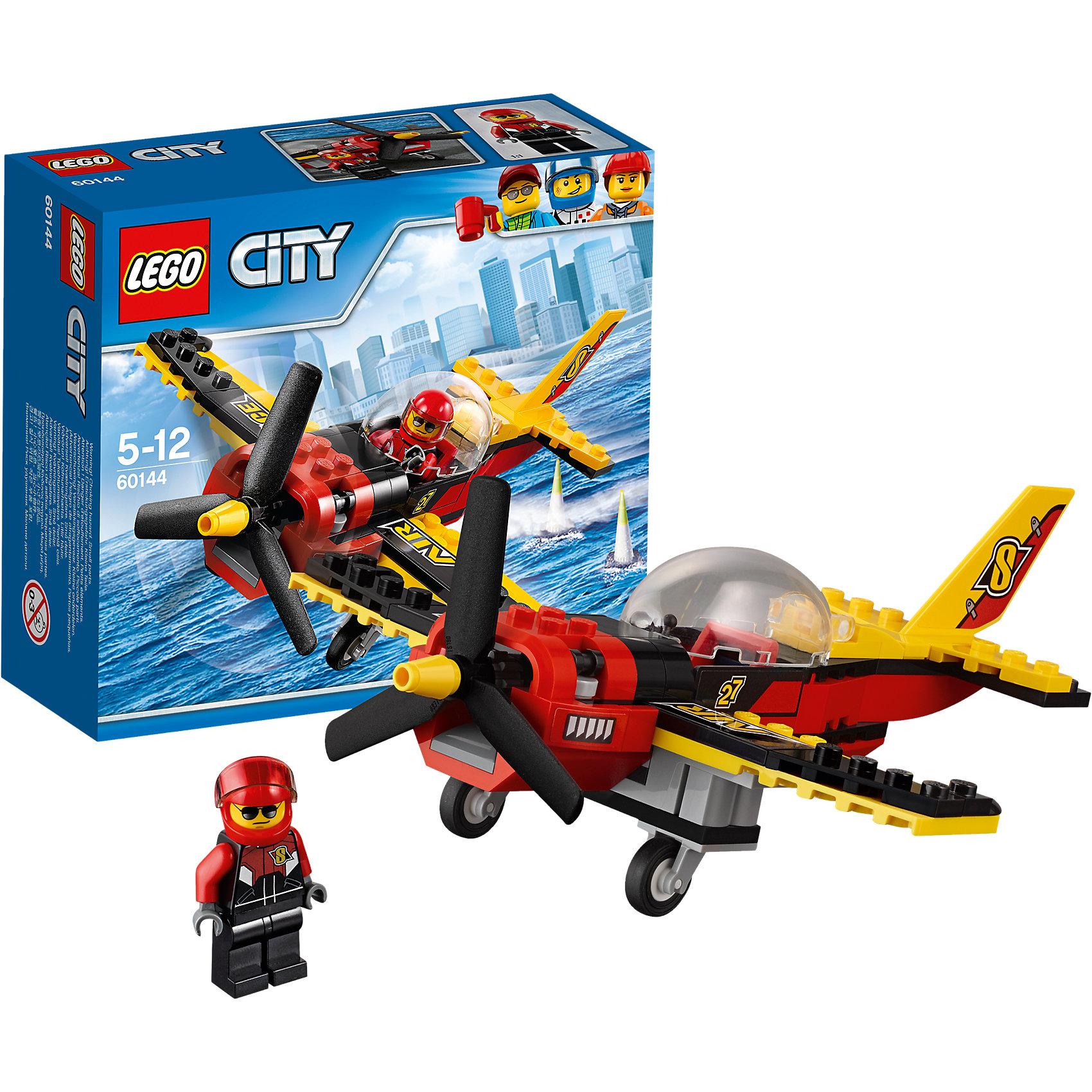 LEGO City 60144: Гоночный самолётLEGO City 60144: Гоночный самолёт<br><br>Характеристики:<br><br>- в набор входит: детали самолета, наклейки для деталей, минифигурка, инструкция<br>- состав: пластик<br>- количество деталей: 89<br>- приблизительное время сборки: 20 минут<br>- размер коробки: 5 * 16 * 13 см.<br>- размер самолета: 15 * 8 * 18 см.<br>- для детей в возрасте: от 5 до 12 лет<br>- Страна производитель: Дания/Китай/Чехия<br><br>Легендарный конструктор LEGO (ЛЕГО) представляет серию «City» (Сити) в виде деталей жизни большого города, в котором есть абсолютно все. Серия делает игры еще более настоящими, благодаря отличным аксессуарам. Гонки на самолетах – очень популярный спорт в лего сити. Этот яркий гоночный самолет со спортивным дизайном победил не в одной гонке! Очень интересные детали шасси и рельефного пропеллера выделяют самолет этого набора. Датели отлично смотрятся как на этой модели, так и на будущих самодельных вариантах самолетов. Кабина пилота с куполообразной панорамной прозрачной деталью позволят гонщику видеть все, что происходит вокруг него и осуществлять успешные обгоны противников. Сам пилот отлично детализирован и качественно прорисован. Его красно-черный комбинезон отлично сочетается со шлемом безопасности. Стекло шлема поднимается и опускается, а сам шлем можно снимать. Этот интересный набор отлично подойдет как новичкам Лего, так и преданным фанатам и коллекционерам серии. Моделируй разные истории и ситуации в Лего Сити, а в процессе игры развивай творческие способности и претворяй свои идеи в жизнь.<br><br>Конструктор  LEGO City 60144: Гоночный самолёт можно купить в нашем интернет-магазине.<br><br>Ширина мм: 157<br>Глубина мм: 61<br>Высота мм: 141<br>Вес г: 166<br>Возраст от месяцев: 60<br>Возраст до месяцев: 144<br>Пол: Мужской<br>Возраст: Детский<br>SKU: 5002464
