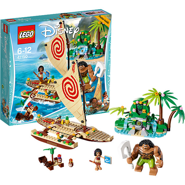 LEGO Disney Princesses 41150: Путешествие Моаны через океанПластмассовые конструкторы<br>LEGO Disney Princesses 41150: Путешествие Моаны через океан<br><br>Характеристики:<br><br>- в набор входит: детали лодки и острова, фигурки Моаны и Мауи, 2 Какаморы, фигурка Хей-Хея, аксессуары, красочная инструкция<br>- состав: пластик<br>- количество деталей: 307<br>- размер упаковки: 26 * 6 * 19 см.<br>- размер лодки Моаны: 16 * 13 * 13 см.<br>- размер острова: 17 * 5 * 11 см.<br>- для детей в возрасте: от 6 до 12 лет<br>- Страна производитель: Дания/Китай/Чехия<br><br>Легендарный конструктор LEGO (ЛЕГО) представляет серию «Disney Princesses» (Принцессы Диснея) в которую входят наборы конструкторов о принцессах, героях и героинях из мультфильмов компании Дисней. <br><br>Моана, отважная дочь вождя племени в Тихом океане отправляется на встречу приключениям на своей большой лодке. Лодка состоит из множества деталей с декорациями в стиле этно, красивый парус очень схож с оригиналом. На борту лодки путешествует и Хей-Хей, забавный петух с серьезным взглядом. Моана везет запас тропических фруктов, в лодке есть специальные грузовой отсек для припасов, который легко открывается. На одиноком острове девочка встречает полубога Мауи с волшебными татуировками на теле. Вместе они пытаются привести в гармонию богиню земли Те Ку и ищут ее потерянное сердце. Детали сформированы таким образом, чтобы природа богини могла меняться от ее огненной стихии к ее миролюбивой сущности путем помещения утраченного сердца. <br><br>Отличные декорирующие детали растительности проработаны с учетом рельефов и выглядят реалистично. Остров наполнен цветами, деталями имитирующими природные камни и водопады. Фигурка Моаны выглядит реалистично, ее вьющиеся волосы выполнены с учетом рельефа, а сбоку можно вставлять в них украшение-цветок. Фигурка может двигать головой и сидеть. Сборная фигура Мауи двигает руками, кистями, головой и ногами, в его руку вставляется волшебный рыболовный крюк. Помоги Моане следовать с