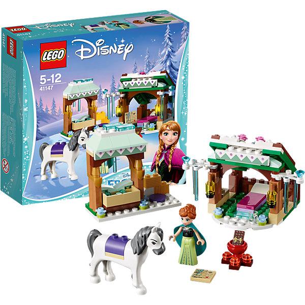 LEGO Disney Princesses 41147: Зимние приключения АнныПластмассовые конструкторы<br>LEGO Disney Princesses 41147: Зимние приключения Анны<br><br>Характеристики:<br><br>- в набор входит: детали для построек, фигурка принцессы Анны, фигурка лошади, аксессуары, красочная инструкция<br>- состав: пластик<br>- количество деталей: 153<br>- размер упаковки: 20 * 6 * 19 см.<br>- размер кормушки лошади: 8 * 3 * 8 см.<br>- размер укрытия: 10 * 7 * 8 см.<br>- для детей в возрасте: от 5 до 12 лет<br>- Страна производитель: Дания/Китай/Чехия<br><br>Легендарный конструктор LEGO (ЛЕГО) представляет серию «Disney Princesses» (Принцессы Диснея) в которую входят наборы конструкторов о принцессах и героях из мультфильмов компании Дисней. С помощью конструкторов можно строить окружение любимых персонажей своими руками, а потом играть с ними. Принцесса Анна отправилась на встречу новым приключениям, но попав в невероятную метель была вынуждена остановиться в пути на отдых. В выбранной ею укрытии есть удобная кровать и два светильника. Устроив привал, она отложила свою карту и пошла кормить свою лошадь. В специальном модуле для кормления имеется достаточно воды, а также детали лего с сеном. Все строения украшены зимними узорами и ледяными сосульками из прозрачных голубых деталей. В дополнение входит небольшой костер с котелком, где принцесса приготовит себе горячий шоколад, в комплекте имеется прозрачная чашка. Фигурка самой Анны выполнена очень качественно, она может двигать головой, руками, а также принимать сидячее положение. Ее рельефная прическа очень схожа с оригиналом из мультфильма и зеленая накидка из материала прекрасно дополняет образ принцессы. Лошадь выполнена с деталями имитирующими седло и обладает шикарной гривой и хвостом, вместе со своей хозяйкой она готова к любым приключениям. Играя с конструктором ребенок развивает моторику рук, воображение и логическое мышление, научится собирать по инструкции и создавать свои модели. Придумывайте новые истории любимых героев с наборо