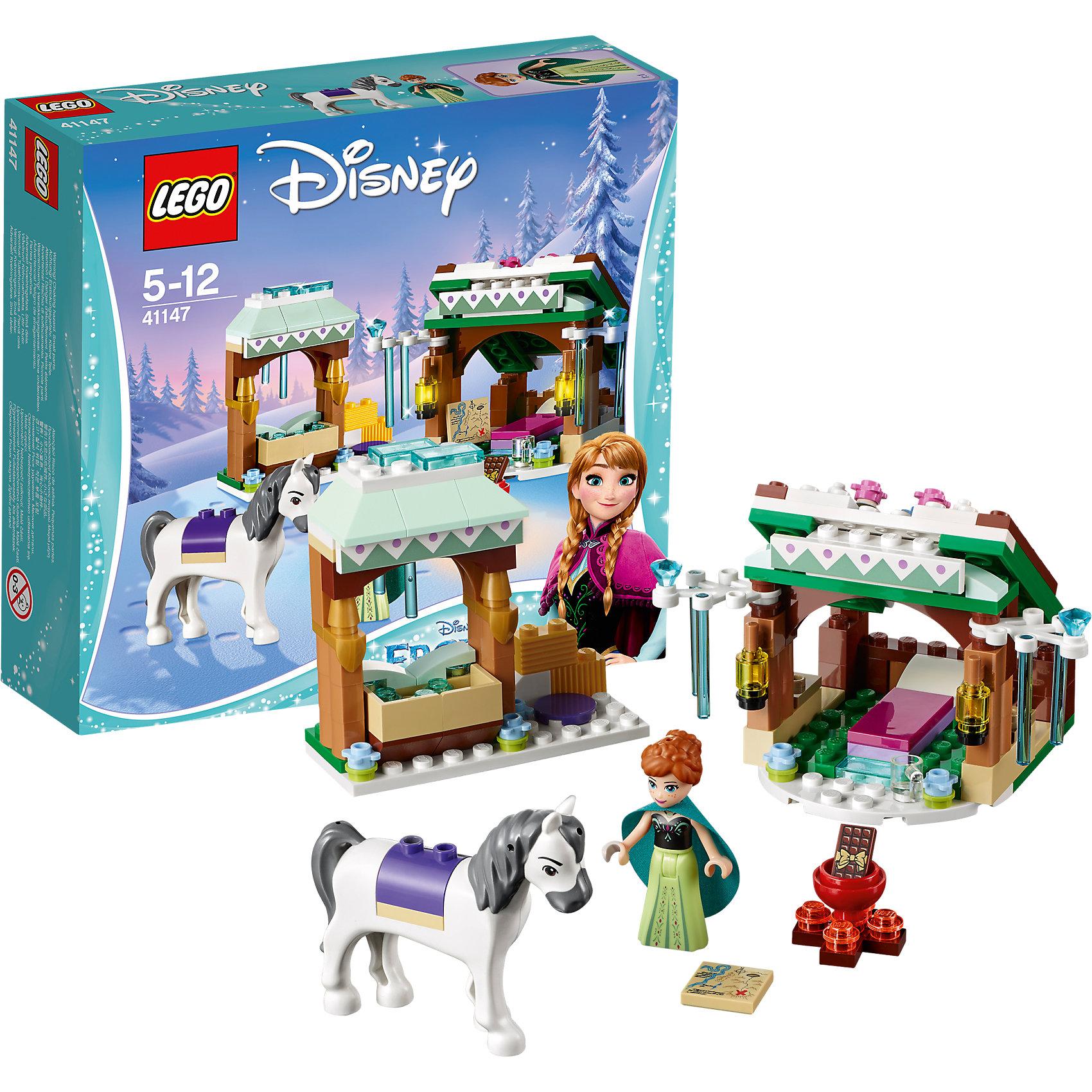 LEGO Disney Princesses 41147: Зимние приключения АнныLEGO Disney Princesses 41147: Зимние приключения Анны<br><br>Характеристики:<br><br>- в набор входит: детали для построек, фигурка принцессы Анны, фигурка лошади, аксессуары, красочная инструкция<br>- состав: пластик<br>- количество деталей: 153<br>- размер упаковки: 20 * 6 * 19 см.<br>- размер кормушки лошади: 8 * 3 * 8 см.<br>- размер укрытия: 10 * 7 * 8 см.<br>- для детей в возрасте: от 5 до 12 лет<br>- Страна производитель: Дания/Китай/Чехия<br><br>Легендарный конструктор LEGO (ЛЕГО) представляет серию «Disney Princesses» (Принцессы Диснея) в которую входят наборы конструкторов о принцессах и героях из мультфильмов компании Дисней. С помощью конструкторов можно строить окружение любимых персонажей своими руками, а потом играть с ними. Принцесса Анна отправилась на встречу новым приключениям, но попав в невероятную метель была вынуждена остановиться в пути на отдых. В выбранной ею укрытии есть удобная кровать и два светильника. Устроив привал, она отложила свою карту и пошла кормить свою лошадь. В специальном модуле для кормления имеется достаточно воды, а также детали лего с сеном. Все строения украшены зимними узорами и ледяными сосульками из прозрачных голубых деталей. В дополнение входит небольшой костер с котелком, где принцесса приготовит себе горячий шоколад, в комплекте имеется прозрачная чашка. Фигурка самой Анны выполнена очень качественно, она может двигать головой, руками, а также принимать сидячее положение. Ее рельефная прическа очень схожа с оригиналом из мультфильма и зеленая накидка из материала прекрасно дополняет образ принцессы. Лошадь выполнена с деталями имитирующими седло и обладает шикарной гривой и хвостом, вместе со своей хозяйкой она готова к любым приключениям. Играя с конструктором ребенок развивает моторику рук, воображение и логическое мышление, научится собирать по инструкции и создавать свои модели. Придумывайте новые истории любимых героев с набором LEGO «Disney Princesses»!<br