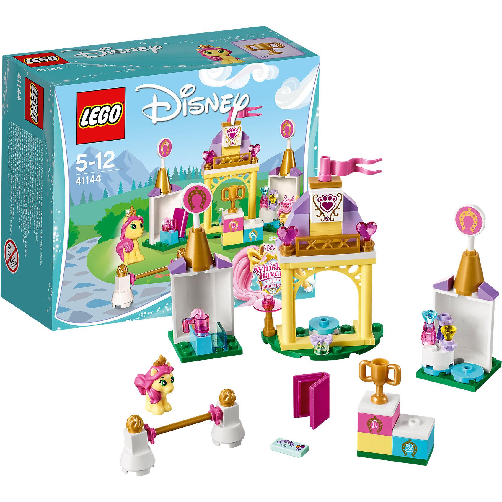 LEGO Disney Princesses 41144: Королевская конюшня НевеличкиLEGO Disney Princesses 41144: Королевская конюшня Невелички<br><br>Характеристики:<br><br>- в набор входит: детали для конюшни, фигурка Невелички, аксессуары, красочная инструкция<br>- состав: пластик<br>- количество деталей: 75<br>- размер упаковки: 12 * 5 * 9 см.<br>- размер собранной конюшни: 13 * 3 * 10 см.<br>- для детей в возрасте: от 5 до 12 лет<br>- Страна производитель: Дания/Китай/Чехия<br><br>Легендарный конструктор LEGO (ЛЕГО) представляет серию «Disney Princesses» (Принцессы Диснея) в которую входят наборы конструкторов о принцессах и героях из мультфильмов компании Дисней. С помощью конструкторов можно строить окружение любимых персонажей своими руками, а потом играть с ними. Любимая пони принцессы Бэлль по имени Невеличка готовится к королевским соревнованиям. Набор Королевская конюшня Невелички из цикла «Королевские питомцы» (Palace Pets) отлично отразил все необходимые составляющие для успешной тренировки пони. Специальная установка для прыжков поможет ей отточить свои навыки и получить первый приз – золотой кубок. Розовая лампа поможет Невеличке читать книгу о прыжках даже вечером. В набор так же входит стенд, где Невеличка может наряжаться, в комплект входит ее золотая тиара и бантик, которые можно менять. На столике расположены шампуни и духи с колпачками из драгоценных камней. Невеличка получила приглашение на чаепитие от своей подружки крольчонка Ягодки. Помогу Невеличке выиграть соревнования и собраться на праздник. С собой пони решила принести небольшое пирожное. Набор может быть соединен с другими наборами «Королевские питомцы» (Palace Pets). Играя с конструктором ребенок развивает моторику рук, воображение и логическое мышление, научится собирать по инструкции и создавать свои модели. Придумывайте новые истории любимых героев с набором LEGO «Disney Princesses»!<br><br>Конструктор LEGO Disney Princesses 41144: Королевская конюшня Невелички можно купить в нашем интернет-магазине.<br><