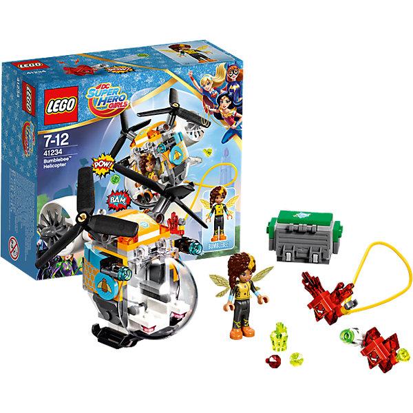 LEGO DC Super Girls 41234: Вертолёт БамблбиКонструкторы Лего<br>LEGO DC Super Girls 41234: Вертолёт Бамблби<br><br>Характеристики:<br><br>- в набор входит: детали вертолета и сундука, фигурка Бамблби, 2 Криптомита, аксессуары, инструкция по сборке<br>- фигурки набора: Бамблби<br>- состав: пластик<br>- количество деталей: 142 <br>- размер вертолёта: 10 * 7 * 10 см.<br>- размер сундука: 3 * 4 * 2 см.<br>- для детей в возрасте: от 7 до 12 лет<br>- Страна производитель: Дания/Китай/Чехия<br><br>Легендарный конструктор LEGO (ЛЕГО) представляет серию «DC Super Girls» (ДиСи Супер Гёрлс) по сюжетам фильмов и мультфильмов о супергероинях. <br><br>Этот набор понравится любителям короткометражных мультфильмов компании Warner Brothers DC Super Girls (ДиСи Супер Гёрлс). Необычный вертолет Бамблби оснащен сразу двумя лопастями, а кабина управления находится спереди, для обширного панорамного вида. Вертолёт окрашен в желто-черный цвет и разрисован узорами сот и пчел. Грузовые отделения наполнены драгоценными камнями, которые желают заполучить красные Криптомиты. На этот раз эти милые, но злобные существа обзавелись стреляющим снарядами оружием и угрожают похитить сокровища. Но супергероиня Бамблби просто так не сдастся, тем более, что и ее вертолет оснащен двумя пушками стреляющими снарядами. <br><br>Фигурка Бамблби отлично проработана, ее рельефные волосы уложены в интересную медовую прическу, а ее супергеройский наряд подходит по стилю к вертолету. Помоги Бамблби одержать верх над Криптомитами и спасти сокровища! <br><br>Играя с конструктором ребенок развивает моторику рук, воображение и логическое мышление, научится собирать по инструкции и создавать свои модели. Придумывайте новые истории любимых героев с набором LEGO «DC Super Girls»!<br><br>Конструктор LEGO DC Super Girls 41234: Вертолёт Бамблби можно купить в нашем интернет-магазине.<br><br>Ширина мм: 158<br>Глубина мм: 140<br>Высота мм: 62<br>Вес г: 167<br>Возраст от месяцев: 84<br>Возраст до месяцев: 144<br>Пол: Женский<b