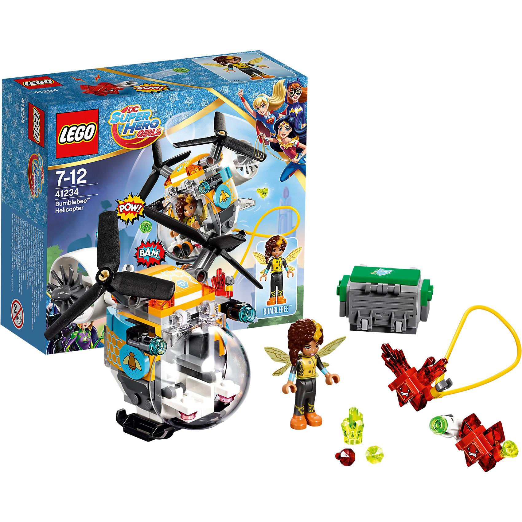 LEGO DC Super Girls 41234: Вертолёт БамблбиПластмассовые конструкторы<br>LEGO DC Super Girls 41234: Вертолёт Бамблби<br><br>Характеристики:<br><br>- в набор входит: детали вертолета и сундука, фигурка Бамблби, 2 Криптомита, аксессуары, инструкция по сборке<br>- фигурки набора: Бамблби<br>- состав: пластик<br>- количество деталей: 142 <br>- размер вертолёта: 10 * 7 * 10 см.<br>- размер сундука: 3 * 4 * 2 см.<br>- для детей в возрасте: от 7 до 12 лет<br>- Страна производитель: Дания/Китай/Чехия<br><br>Легендарный конструктор LEGO (ЛЕГО) представляет серию «DC Super Girls» (ДиСи Супер Гёрлс) по сюжетам фильмов и мультфильмов о супергероинях. <br><br>Этот набор понравится любителям короткометражных мультфильмов компании Warner Brothers DC Super Girls (ДиСи Супер Гёрлс). Необычный вертолет Бамблби оснащен сразу двумя лопастями, а кабина управления находится спереди, для обширного панорамного вида. Вертолёт окрашен в желто-черный цвет и разрисован узорами сот и пчел. Грузовые отделения наполнены драгоценными камнями, которые желают заполучить красные Криптомиты. На этот раз эти милые, но злобные существа обзавелись стреляющим снарядами оружием и угрожают похитить сокровища. Но супергероиня Бамблби просто так не сдастся, тем более, что и ее вертолет оснащен двумя пушками стреляющими снарядами. <br><br>Фигурка Бамблби отлично проработана, ее рельефные волосы уложены в интересную медовую прическу, а ее супергеройский наряд подходит по стилю к вертолету. Помоги Бамблби одержать верх над Криптомитами и спасти сокровища! <br><br>Играя с конструктором ребенок развивает моторику рук, воображение и логическое мышление, научится собирать по инструкции и создавать свои модели. Придумывайте новые истории любимых героев с набором LEGO «DC Super Girls»!<br><br>Конструктор LEGO DC Super Girls 41234: Вертолёт Бамблби можно купить в нашем интернет-магазине.<br><br>Ширина мм: 158<br>Глубина мм: 140<br>Высота мм: 62<br>Вес г: 167<br>Возраст от месяцев: 84<br>Возраст до месяцев: 144<br>Пол: 