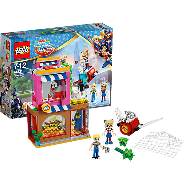 LEGO DC Super Girls 41231: Харли Квинн спешит на помощьПластмассовые конструкторы<br>LEGO DC Super Girls 41231: Харли Квинн спешит на помощь<br><br>Характеристики:<br><br>- в набор входит: детали кафе, самолета, 2 фигурки, 2 Криптомита аксессуары, инструкция по сборке<br>- фигурки набора: Харли Квинн, Стив Тревор<br>- состав: пластик<br>- количество деталей: 217 <br>- размер кафе: 14 * 7 * 11 см.<br>- размер самолета: 3 * 11 * 7 см.<br>- для детей в возрасте: от 7 до 12 лет<br>- Страна производитель: Дания/Китай/Чехия<br><br>Легендарный конструктор LEGO (ЛЕГО) представляет серию «DC Super Girls» (ДиСи Супер Гёрлс) по сюжетам фильмов и мультфильмов о супергероинях. <br><br>Этот набор понравится любителям короткометражных мультфильмов компании Warner Brothers DC Super Girls (ДиСи Супер Гёрлс). Фигурка Харли Квинн отлично проработана, ее рельефные волосы уложены в два хвостика. Ее классический двухсторонний наряд представлен в черно-белой и сине-красной гамме. Стив также имеет детализированную прическу, одет в джинсы и футболку. Фигурки могут двигать головой, руками, торсом и принимать сидячее положение. Милые, но злобные Криптомиты зеленого цвета напали на кафе Стива и хотят забрать все деньги! Харли Квинн спешит на помощь на своем реактивном самолете, оснащенном большой сетью, чтобы поймать негодяев. Крылья самолета двигаются. Кафе Стива отлично детализировано, первый этаж с витриной, входной дверью и игровым автоматом приветствует гостей кафе, а второй этаж оснащен кассой и управлением системой безопасности – катапультой на крыше здания. <br><br>Стив отбивался от Криптомитов как мог, но они его связали и украли деньги. Он безудержно зовет на помощь Харли Квинн. Помоги Харли одержать верх над Криптомитами и вернуть награбленное! Играя с конструктором ребенок развивает моторику рук, воображение и логическое мышление, научится собирать по инструкции и создавать свои модели. Придумывайте новые истории любимых героев с набором LEGO «DC Super Girls»!<br><br>Конструктор LE