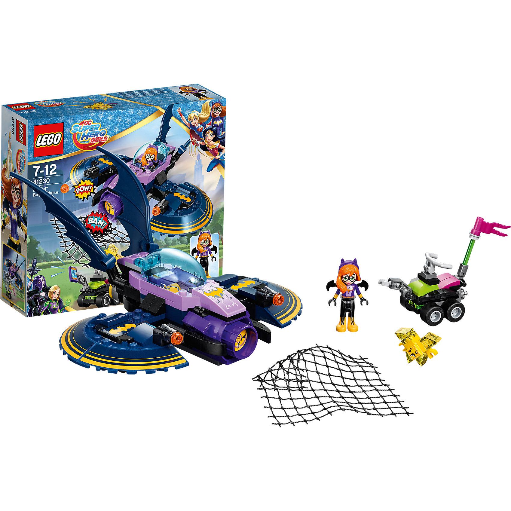 LEGO DC Super Girls 41230: Бэтгёрл: погоня на реактивном самолётеПластмассовые конструкторы<br>LEGO DC Super Girls 41230: Бэтгёрл: погоня на реактивном самолёте<br><br>Характеристики:<br><br>- в набор входит: детали двух транспортных средств, 2 фигурки; аксессуары; инструкция по сборке<br>- фигурки набора: Бэтгёрл, Криптомин<br>- состав: пластик<br>- количество деталей: 93 <br>- размер Бэтолета: 17 * 9 * 17 см.<br>- размер машинки: 7 * 6 * 3 см.<br>- для детей в возрасте: от 5 до 12 лет<br>- Страна производитель: Дания/Китай/Чехия<br><br>Легендарный конструктор LEGO (ЛЕГО) представляет серию «DC Super Girls» (ДиСи Супер Гёрлс) по сюжетам фильмов и мультфильмов о супергероинях. <br><br>Этот набор понравится любителям короткометражных мультфильмов компании Warner Brothers DC Super Girls (ДиСи Супер Гёрлс). Фигурка Бэтгёрл отлично проработана, ее рельефные волосы уложены в красивую прическу, на голове снимающийся ободок с ушами летучей мыши. Ее наряд очень удобен для работы – черные штаны, фиолетовая кофта и ботинки на шнурках. Фигурка может двигать головой, руками, торсом и принимать сидячее положение. Мощный Бэтолет девушки оснащен двумя полукруглыми крыльями-турбинами, чтобы он мог приземляться не хуже вертолета. <br><br>Два передних бластера на механизме стреляют снарядами в злодея Криптомина. Передняя пушка предназначена для выброса сетки. Кабина выкрашена в лиловый цвет и закрывается прозрачной деталью для обесепечения безопасности пилота. Два крыла летучей мыши повышают аэродинамические свойства судна. Злодей Криптомин украл важную информацию о преступниках и скрылся на своем багги. Багги оснащен управляемой железной рукой для похищения вещей. Помоги Бэтгёрл одержать верх над Криптомином! <br><br>Играя с конструктором ребенок развивает моторику рук, воображение и логическое мышление, научится собирать по инструкции и создавать свои модели. Придумывайте новые истории любимых героев с набором LEGO «DC Super Girls»!<br><br>Конструктор LEGO DC Super Girls 41230: Бэт