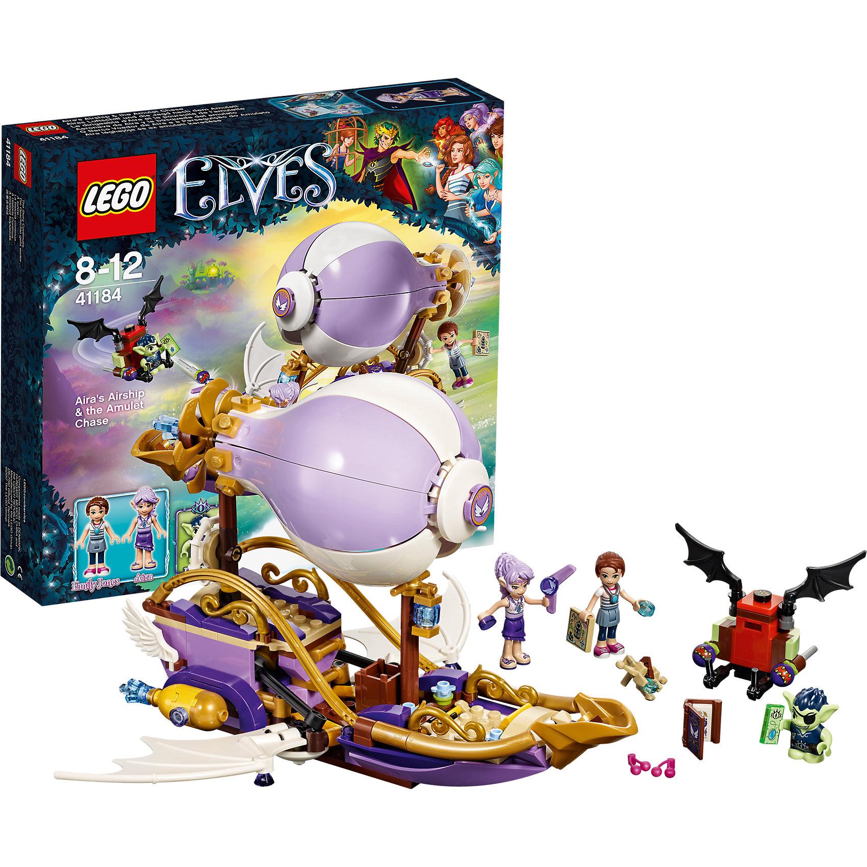 LEGO Elves 41184: Погоня за амулетомПластмассовые конструкторы<br>LEGO Elves 41314: Погоня за амулетом<br><br>Характеристики:<br><br>- в набор входит: детали летательного корабля, летательного аппарата, 3 фигурки, аксессуары, инструкция по сборке<br>- фигурки набора: Эмили Джонс, эльф Эйра, гоблин Дюклин<br>- состав: пластик<br>- количество деталей: 343<br>- для детей в возрасте: от 8 до 12 лет<br>- Страна производитель: Дания/Китай/Чехия<br><br>Легендарный конструктор LEGO (ЛЕГО) представляет серию «Elves» (Эльфы) – магическую вселенную, наполненную приключениями! <br><br>Дети должны помочь эльфам найти четыре волшебных ключа, чтобы вернуть Эмили Джонс домой. Легендарный летающий корабль Эйры впечатляет своим отличным воплощением в этой серии. Насыщенные лиловые и фиолетовые оттенки прекрасно сочетаются с золотыми деталями декораций. Корабль трансформируется в режим быстрого полета, после того, как гоблин похищает амулет у Эмили. Эйра использует магию ветра и они пускаются в погоню. <br><br>Фигурки качественно прорисованы, могут поворачивать головой, руками, торсом и принимать сидячее положение. Красивые рельефные волосы собраны в прически, детали одежды оснащены выступающими складками по краям ткани и добавляют фигуркам реалистичности. Небольшой гоблин может двигать руками, поворачивать головой, держать предметы в руках, его причёска тоже детализирована. Летательный аппарат гоблина имеет багажное отделение хранения награбленного. Помоги девочкам вернуть амулет, и прими участие в эпичной погоне за амулетом! Детали набора отлично сочетаются в другими наборами серии LEGO Elves. <br><br>Играя с конструктором ребенок развивает моторику рук, воображение и логическое мышление, научится собирать по инструкции и создавать свои модели. Придумывайте новые истории любимых героев с набором LEGO «Elves»!<br><br>Конструктор LEGO Elves 41314: Погоня за амулетом можно купить в нашем интернет-магазине.<br><br>Ширина мм: 281<br>Глубина мм: 261<br>Высота мм: 63<br>Вес г: 504<br>Возра