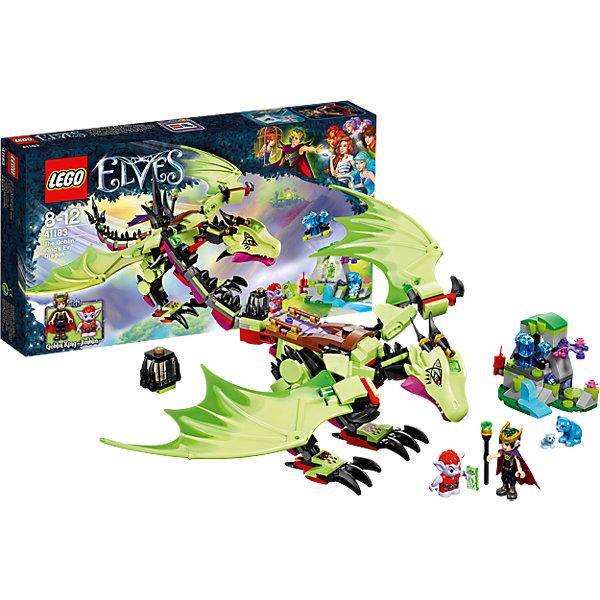 LEGO Elves 41183: Дракон Короля ГоблиновПластмассовые конструкторы<br>LEGO Elves 41183: Дракон Короля Гоблинов<br><br>Характеристики:<br><br>- в набор входит: детали дракона и пещеры, 2 фигурки героев, 2 медведя, аксессуары, инструкция по сборке<br>- фигурки набора: Король Гоблинов, гоблин Джимблин<br>- состав: пластик<br>- количество деталей: 339<br>- размер упаковки: 35 * 6 * 19 см.<br>- размер дракона: 38 * 12 * 31 см.<br>- размер пещеры: 8 * 5 * 6 см.<br>- для детей в возрасте: от 8 до 12 лет<br>- Страна производитель: Дания/Китай/Чехия<br><br>Легендарный конструктор LEGO (ЛЕГО) представляет серию «Elves» (Эльфы) – магическую вселенную, наполненную приключениями! <br><br>Злой Король Гоблинов сел верхом на большого зеленого дракона и отправился за драгоценными камнями, которые должны увеличить силу его портала. Благодаря шарнирным деталям дракон отлично двигается, может шевелить хвостом, головой, лапами, его крылья также двигаются. На спине оборудовано специальное драконье седло, Король управляет им с помощью силы мысли. На поиск сокровищ Король взял гоблина Джимблина, которого назначил ответственным за подрыв пещеры медведей. <br><br>Фигурка Короля качественно прорисована, может поворачивать головой, руками, торсом и принимать сидячее положение. Рельефные волосы собраны короной, детали одежды оснащены выступающими складками по краям ткани и добавляют фигурке реалистичности. Небольшой гоблин может двигать руками, поворачивать головой, держать предметы в руках, его причёска тоже детализирована. Детали набора отлично сочетаются в другими наборами серии LEGO Elves. <br><br>Играя с конструктором ребенок развивает моторику рук, воображение и логическое мышление, научится собирать по инструкции и создавать свои модели. Придумывайте новые истории любимых героев с набором LEGO «Elves»!<br><br>Конструктор LEGO Elves 41183: Дракон Короля Гоблинов можно купить в нашем интернет-магазине.<br><br>Ширина мм: 353<br>Глубина мм: 190<br>Высота мм: 63<br>Вес г: 422<br>Возраст от ме