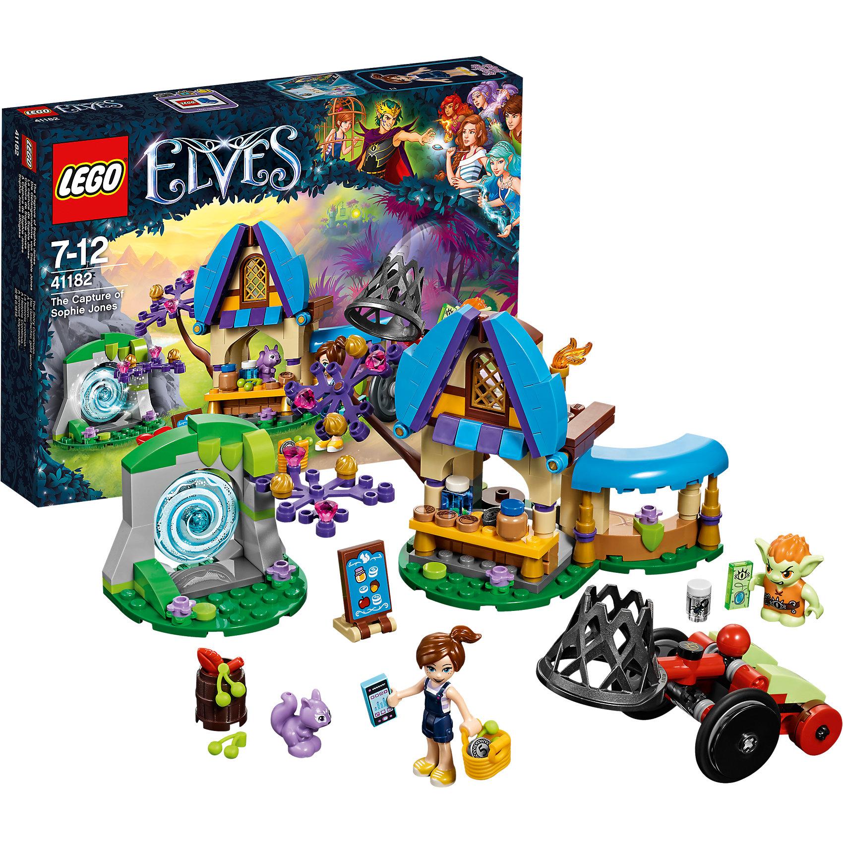 LEGO Elves 41182: Похищение Софи ДжонсПластмассовые конструкторы<br>LEGO Elves 41182: Похищение Софи Джонс<br><br>Характеристики:<br><br>- в набор входит: детали магазинчика и машины, 2 фигурки, аксессуары, инструкция по сборке<br>- минифигурки набора: Софи, гоблин Барблин<br>- состав: пластик<br>- количество деталей: 226<br>- размер упаковки: 26 * 5 * 19 см.<br>- для детей в возрасте: от 7 до 12 лет<br>- Страна производитель: Дания/Китай/Чехия<br><br>Легендарный конструктор LEGO (ЛЕГО) представляет серию «Elves» (Эльфы) – магическую вселенную, наполненную приключениями! <br><br>Дети должны помочь эльфам найти четыре волшебных ключа, чтобы вернуть Эмили Джонс домой. Маленькая Софи Джонс отправилась в магазинчик мистера Спая со своей корзинкой и монеткой. В красивом магазине имеется большой ассортимент разных продуктов, а на дереве растут драгоценные камни. Софи поджидает злой гоблин, который хочет ее похитить, так же как и ее сестру. Он привез с собой большую машину с сетью, помоги Софи купить все необходимое и убежать от гоблина через портал. <br><br>Фигурка Софи качественно прорисована, может поворачивать головой, руками, торсом и принимать сидячее положение. Красивые рельефные волосы собраны в хвостик, детали одежды оснащены выступающими складками по краям ткани и добавляют фигурке реалистичности. Небольшой гоблин может двигать руками, поворачивать головой, держать предметы в руках, его причёска тоже детализирована. Детали набора отлично сочетаются в другими наборами серии LEGO Elves. <br><br>Играя с конструктором ребенок развивает моторику рук, воображение и логическое мышление, научится собирать по инструкции и создавать свои модели. Придумывайте новые истории любимых героев с набором LEGO «Elves»!<br><br>Конструктор LEGO Elves 41182: Похищение Софи Джонс можно купить в нашем интернет-магазине.<br><br>Ширина мм: 265<br>Глубина мм: 192<br>Высота мм: 50<br>Вес г: 292<br>Возраст от месяцев: 84<br>Возраст до месяцев: 144<br>Пол: Женский<br>Возраст: Детский<br>SKU: 