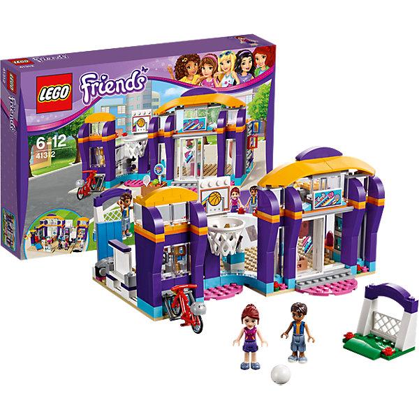 LEGO Friends 41312: Спортивный центрПластмассовые конструкторы<br>LEGO Friends 41312: Спортивный центр<br><br>Характеристики:<br><br>- в набор входит: детали спортивного цента, фигурка Роберта и Мии, аксессуары, красочная инструкция<br>- состав: пластик<br>- количество деталей: 328<br>- размер центра: 23 * 12 * 15 см.<br>- для детей в возрасте: от 6 до 12 лет<br>- Страна производитель: Дания/Китай/Чехия<br><br>Легендарный конструктор LEGO (ЛЕГО) представляет серию «Friends» (Друзья) в которую входят наборы конструкторов интересных не только в строительстве, но и в игре. <br><br>Серия разработана с учетом различных повседневных ситуаций и мест. Мия и Роберт обожают заниматься спортом в своем центре, который разбита на уличную зону и на зону занятий в помещении. Центр оснащен грушей для тренировки ударов, беговой дорожкой с электронной панелью и крутящимися деталями, ковриком для йоги, кольцами для подтягивания, гантелями, балетным станком для растяжки и фонтанчиком с водой. Личные вещи Мия и Роберт оставляют в закрывающихся шкафчиках, взяв с собой немного денег чтобы купить свежевыжатый сок. Трофейный зал хранит кубки рекордсменов. Уличная секция центра помогает друзьям играть в баскетбол, футбол, теннис или кататься на велосипеде. Необходимый инвентарь лежит в ящике внутри центра. <br><br>Фигурки выполнены очень качественно, могут двигать головой, руками, торсом и принимать сидячее положение. Прически выполнены с учетом рельефа, часть деталей одежды имеет выступающие части, что делает наряды более реалистичными. Оставайся в форме вместе со спортивным центром Хартлейк Сити. <br><br>Играя с конструктором ребенок развивает моторику рук, воображение и логическое мышление, научится собирать по инструкции и создавать свои модели. Придумывайте новые истории любимых героев с набором LEGO «Friends»!<br><br>Конструктор LEGO Friends 41312: Спортивный центр можно купить в нашем интернет-магазине.<br>Ширина мм: 385; Глубина мм: 261; Высота мм: 71; Вес г: 668; Возраст от месяцев: