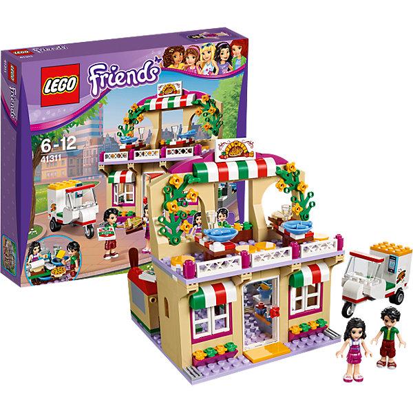 LEGO Friends 41311: ПиццерияКонструкторы Лего<br>LEGO Friends 41311: Пиццерия<br><br>Характеристики:<br><br>- в набор входит: детали пиццерии и скутера, фигурка Оливера и Эммы, аксессуары, красочная инструкция<br>- состав: пластик<br>- количество деталей: 289<br>- размер пиццерии: 15 * 12 * 12 см.<br>- размер скутера: 7 * 3 * 5 см.<br>- для детей в возрасте: от 6 до 12 лет<br>- Страна производитель: Дания/Китай/Чехия<br><br>Легендарный конструктор LEGO (ЛЕГО) представляет серию «Friends» (Друзья) в которую входят наборы конструкторов интересных не только в строительстве, но и в игре. <br><br>Серия разработана с учетом различных повседневных ситуаций и мест. Оливер и Эмма открыли итальянский ресторан и ждут всех посетителей на дегустацию нового рецепта пиццы. Двухэтажный ресторан выглядит очень стильно, на фасаде расположено два тента с цветами итальянского флага, а на балконе распустились желтые цветочки романтичного вьюнка. Первый этаж предназначен для кухни, так есть большая печь с лопаткой, плита со сковородой и синей лопаткой, раковина с краном, миска с сыром и терка для сыра, банка с мукой, скалка, тесто и нож для теста. Эмма использует новый рецепт и сверяется с ним в процессе изготовления пиццы. В меню есть и вкусные кексы на десерт. Оливер помогает приносить пиццу как гостям в пиццерии, так и тем, кто заказывает пиццу по телефону. Пиццу упаковывают в картонную коробку и Оливер мчится на фирменном скутере к заказчику. Трехколесный скутер оснащен планшетом с навигатором и большим багажником. <br><br>Фигурки выполнены очень качественно, могут двигать головой, руками, торсом и принимать сидячее положение. Прически выполнены с учетом рельефа, часть деталей одежды имеет выступающие части, что делает наряды более реалистичными. Эмма одета в одежду повара и на ней лиловый фартук, Оливер одет в более спортивный наряд, чтобы ему было удобнее заниматься доставкой. Наслаждайтесь пиццей в компании друзей в итальянском ресторане Хартлейк Сити. <br><br>Играя с конструкторо