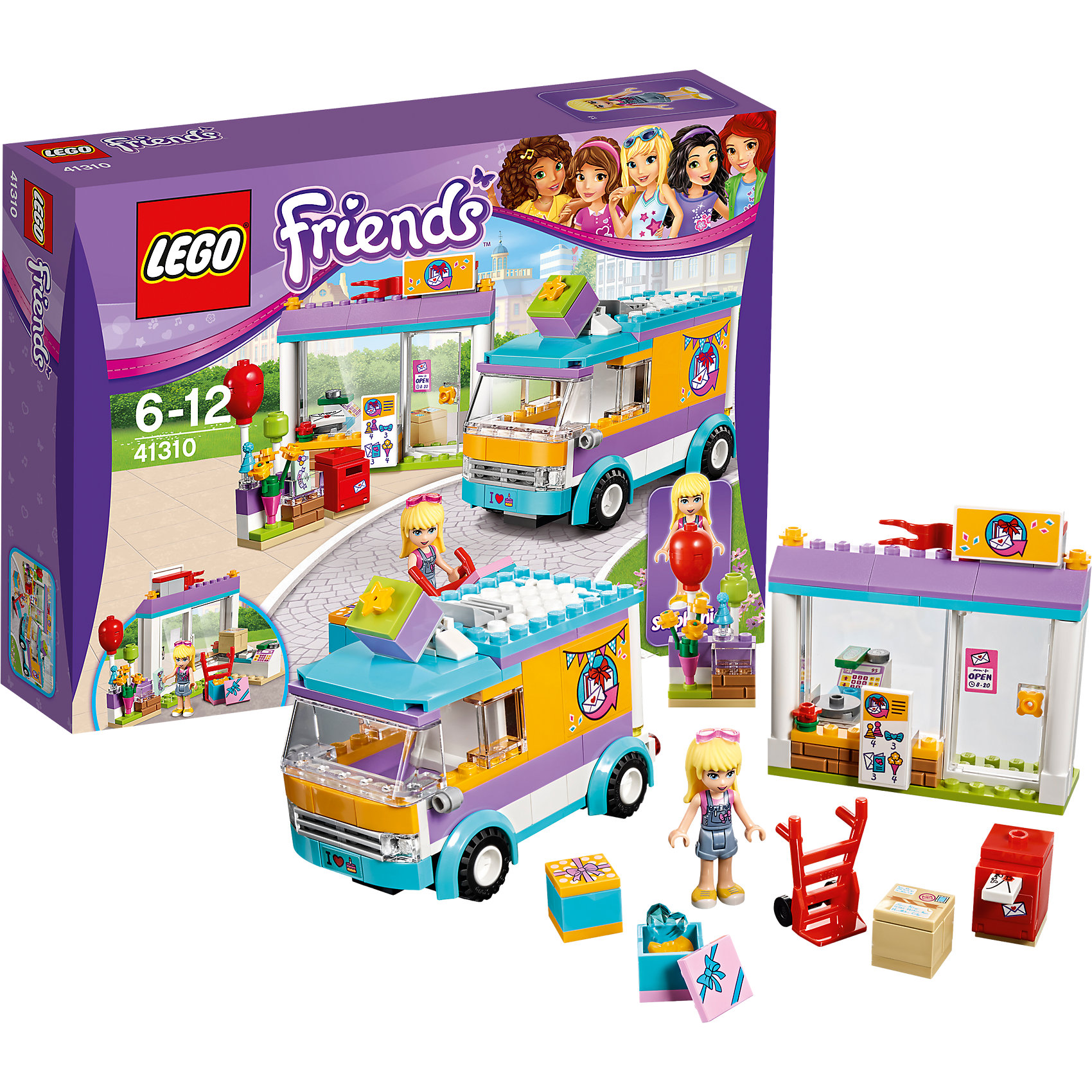 LEGO Friends 41310: Служба доставки подарков<br><br>Ширина мм: 257<br>Глубина мм: 192<br>Высота мм: 66<br>Вес г: 340<br>Возраст от месяцев: 72<br>Возраст до месяцев: 144<br>Пол: Женский<br>Возраст: Детский<br>SKU: 5002483