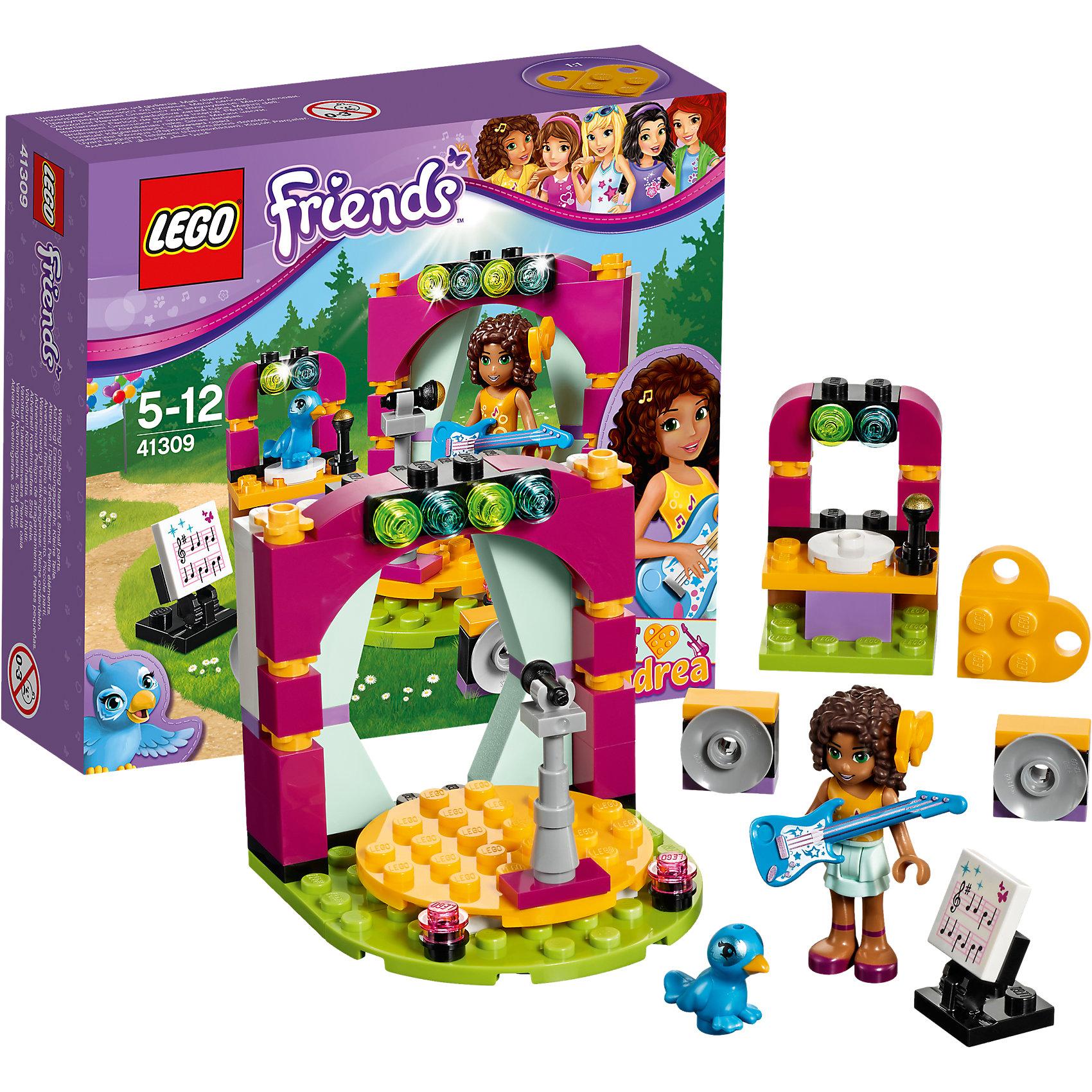 LEGO Friends 41309: Музыкальный дуэт АндреаПластмассовые конструкторы<br>LEGO Friends 41309: Музыкальный дуэт Андреа<br><br>Характеристики:<br><br>- в набор входит: детали студии, фигурка Андреа, птичка, аксессуары, красочная инструкция<br>- состав: пластик<br>- количество деталей: 86<br>- размер сцены: 6 * 6 * 6 см.<br>- размер стойки для птицы: 4 * 3 * 3 см.<br>- для детей в возрасте: от 5 до 12 лет<br>- Страна производитель: Дания/Китай/Чехия<br><br>Легендарный конструктор LEGO (ЛЕГО) представляет серию «Friends» (Друзья) в которую входят наборы конструкторов интересных не только в строительстве, но и в игре. <br><br>Серия разработана с учетом различных повседневных ситуаций и мест. Андреа просто обожает петь и у нее это отлично получается, вместе со своей райской птичкой по имени Клео она устраивает выступления и поет с ней дуэтом. Ее музыкальная студия полностью оборудована для отличных уроков музыки, тут она учится играть на электрогитаре по нотам и поет на сцене, которая может крутиться. Изящная сцена с колоннами и портьерами оснащена отличным светом, такие же софиты установлена на стойке Клео. Для птички установлен собственный микрофон, чтобы она могла петь вместе с Андреа. <br><br>Фигурка Андреа отлично проработана, ее рельефные волосы уложены в красивую прическу и она носит желтый бант. Ее наряд отлично подходит для сцены – желтый топ с нотами и белая двух ярусная юбка. Фигурка может двигать головой, руками, торсом и принимать сидячее положение. Фигурка птички надежно вставляется в детали лего, а благодаря специальному отверстию можно одевать на нее аксессуары. В набор входит желтая деталь-кулончик серии LEGO «Friends». <br><br>Играя с конструктором ребенок развивает моторику рук, воображение и логическое мышление, научится собирать по инструкции и создавать свои модели. Придумывайте новые истории любимых героев с набором LEGO «Friends»!<br><br>Конструктор LEGO Friends 41309: Музыкальный дуэт Андреа можно купить в нашем интернет-магазине.<br><br>Ширина мм: