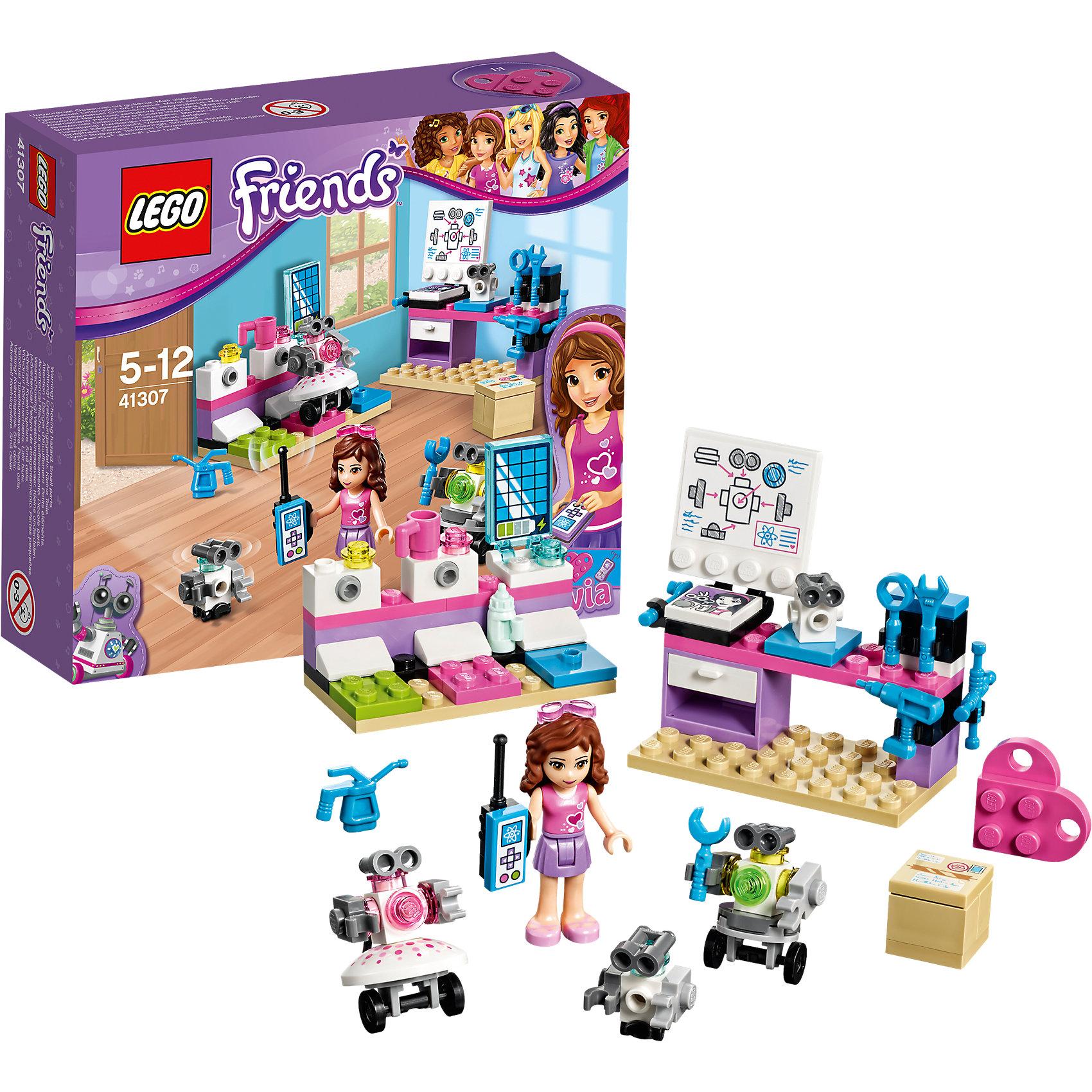 LEGO Friends 41307: Творческая лаборатория ОливииПластмассовые конструкторы<br>LEGO Friends 41307: Творческая лаборатория Оливии<br><br>Характеристики:<br><br>- в набор входит: детали лаборатории и трех роботов, фигурка Оливии, аксессуары, красочная инструкция<br>- состав: пластик<br>- количество деталей: 91<br>- размер зарядной станции: 6 * 3 * 5 см.<br>- размер лабораторного стола: 7 * 3 * 6 см.<br>- для детей в возрасте: от 5 до 12 лет<br>- Страна производитель: Дания/Китай/Чехия<br><br>Легендарный конструктор LEGO (ЛЕГО) представляет серию «Friends» (Друзья) в которую входят наборы конструкторов интересных не только в строительстве, но и в игре. <br><br>Серия разработана с учетом различных повседневных ситуаций и мест. Оливия просто обожает технику и уже научилась собирать своих роботов. Она заказывает детали со всего мира и у нее получается создавать уникальных роботов. Она собирает роботов-девочек с деталями-юбочками и роботов-мальчиков с функциями ремонта. На ее лабораторном столе расположены схемы и набор инструментов, а так же фотография с любимым роботом. Ящик стола открывается, в набор входит шесть инструментов и пуль управления. Оливия сконструировала станцию для зарядки для роботов, чтобы они не перестали работать. <br><br>Фигурка Оливии отлично проработана, ее рельефные волосы уложены в красивую прическу и она носит розовый бант. Ее наряд ей отлично подходит – розовый топ и лиловая однотонная юбка. Фигурка может двигать головой, руками, торсом и принимать сидячее положение. В набор входит розовая деталь-кулончик серии LEGO «Friends». <br><br>Играя с конструктором ребенок развивает моторику рук, воображение и логическое мышление, научится собирать по инструкции и создавать свои модели. Придумывайте новые истории любимых героев с набором LEGO «Friends»!<br><br>Конструктор LEGO Friends 41307: Творческая лаборатория Оливии можно купить в нашем интернет-магазине.<br><br>Ширина мм: 158<br>Глубина мм: 139<br>Высота мм: 49<br>Вес г: 112<br>Возраст от месяцев: 